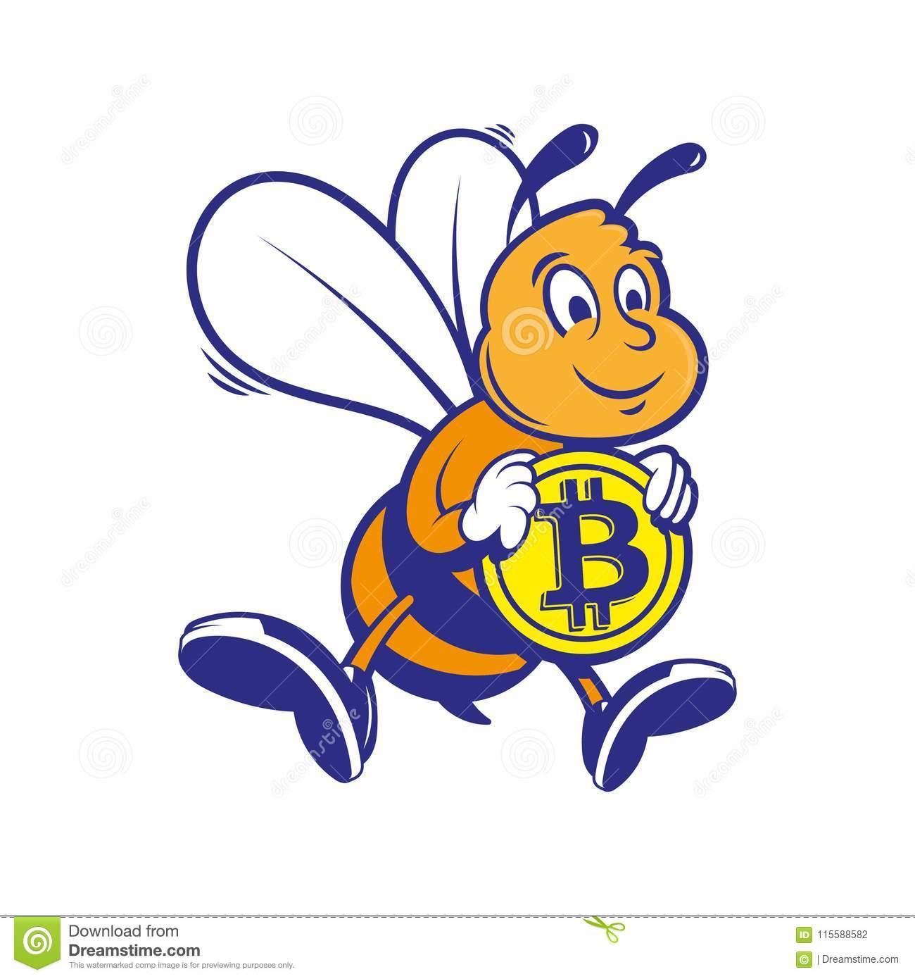 Le Mineur D'abeille Gardent Le Bitcoin D'or Illustration De serapportantà Mineur D Or