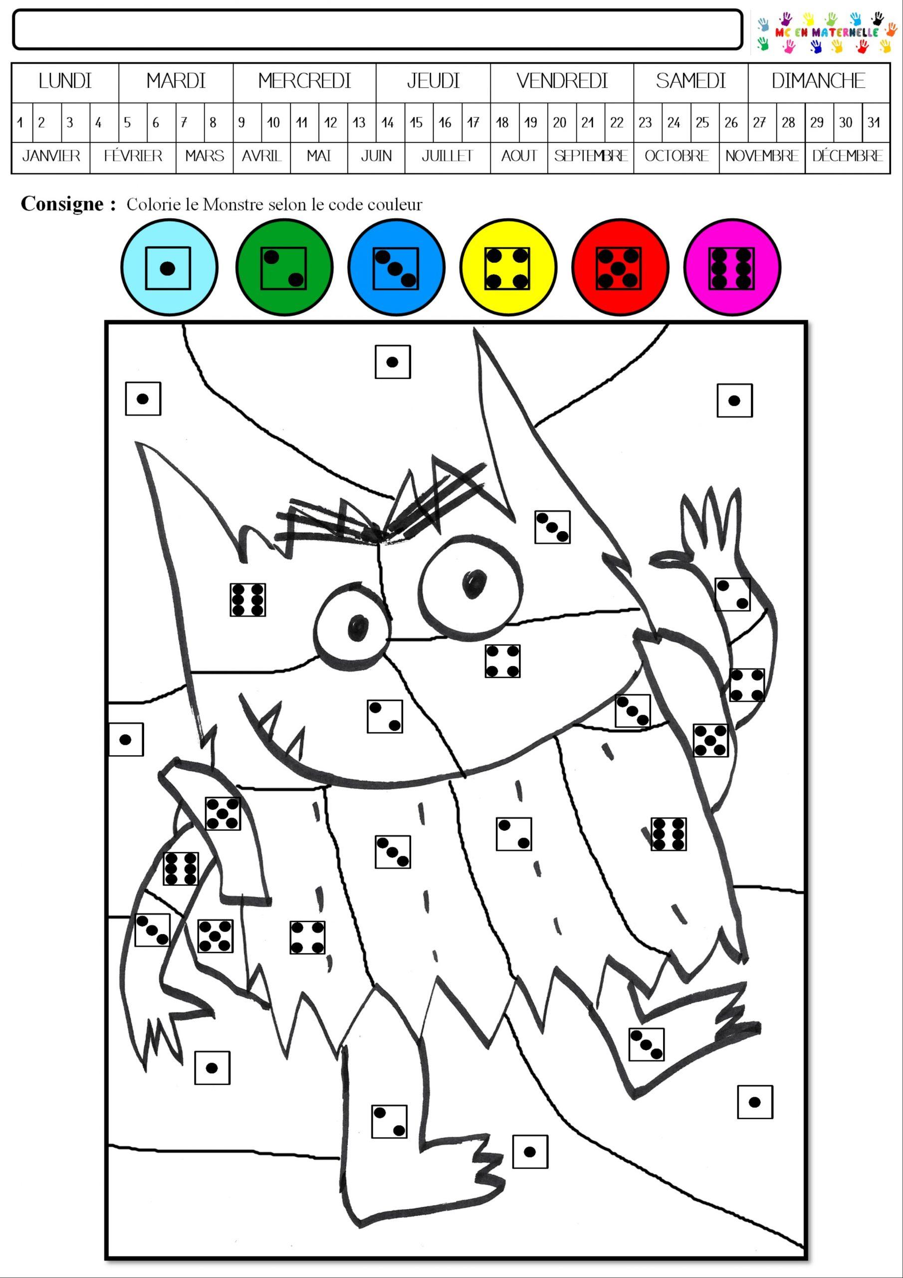 Le Monstre Des Couleurs Va À L'école : Coloriage Magique concernant Coloriage Codé Maternelle