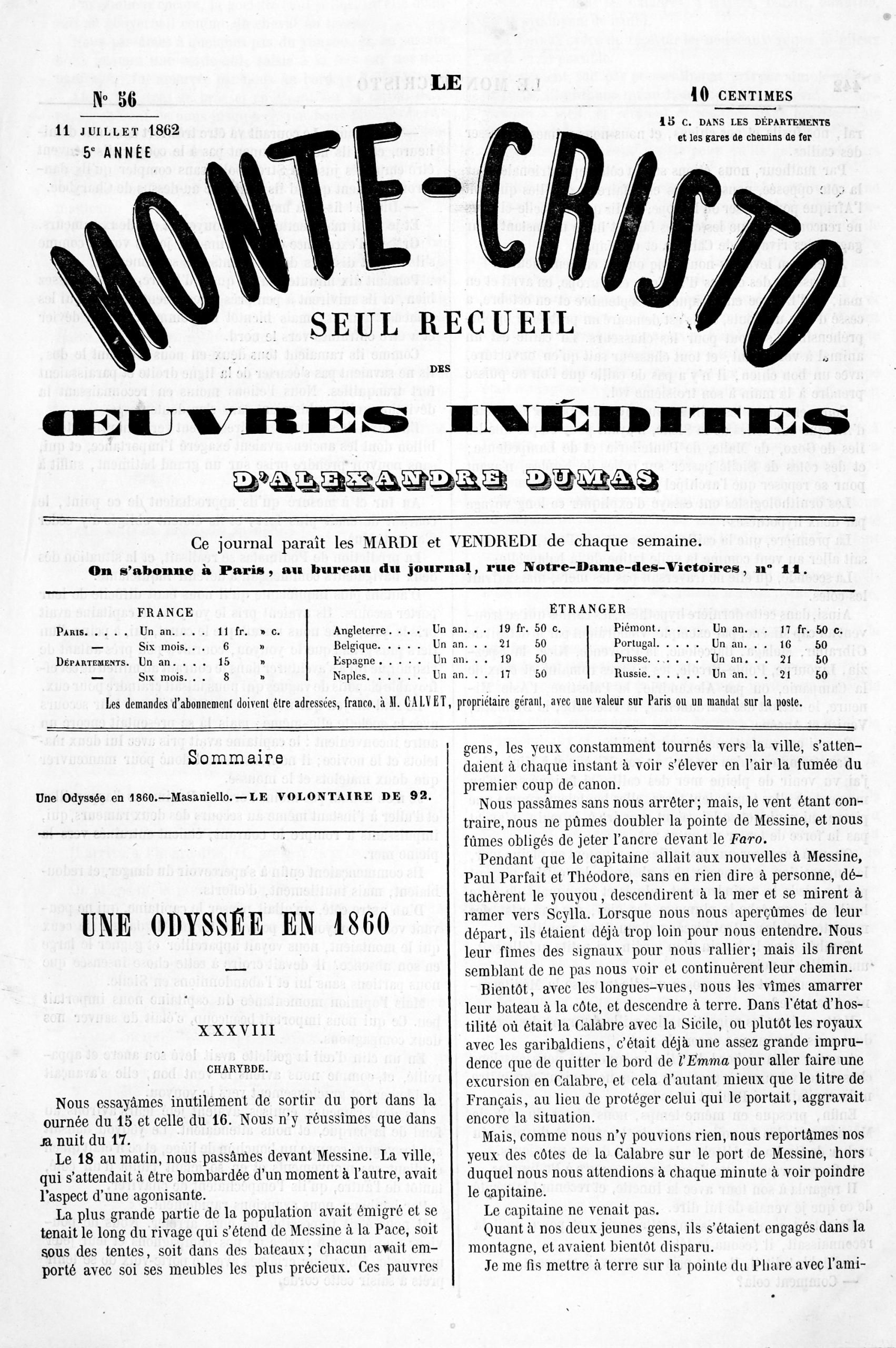 Le Monte-Cristo 1862-07-11 N°56 | Jad encequiconcerne Numéro Des Départements
