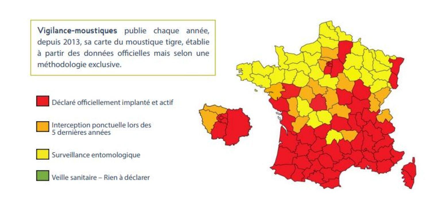 Le Moustique Tigre « Implanté Et Actif » Dans 51 tout Carte Departements Francais
