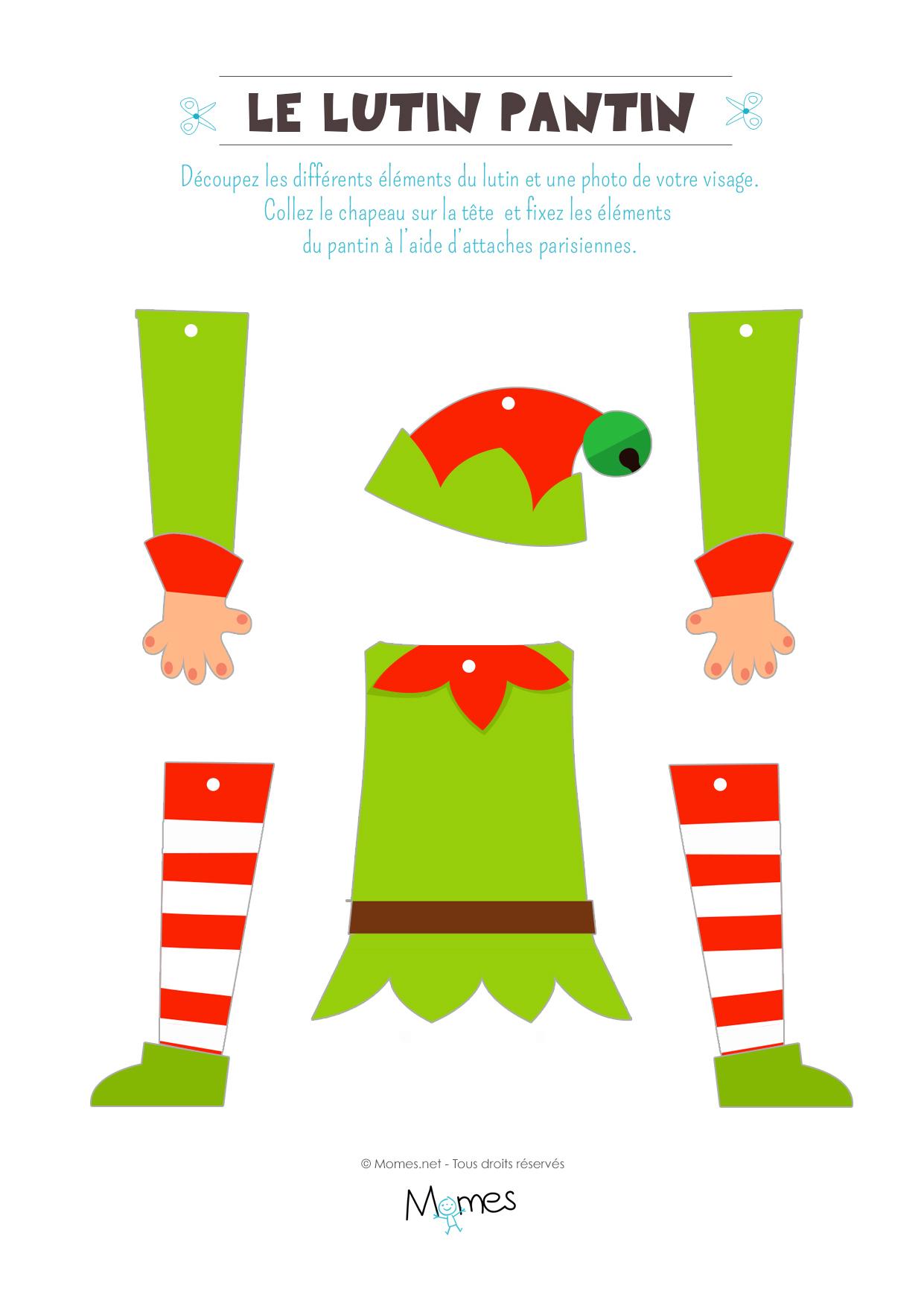 Le Pantin Lutin De Noël À Imprimer Et Personnaliser - Momes avec Pere Noel A Imprimer Et A Decouper