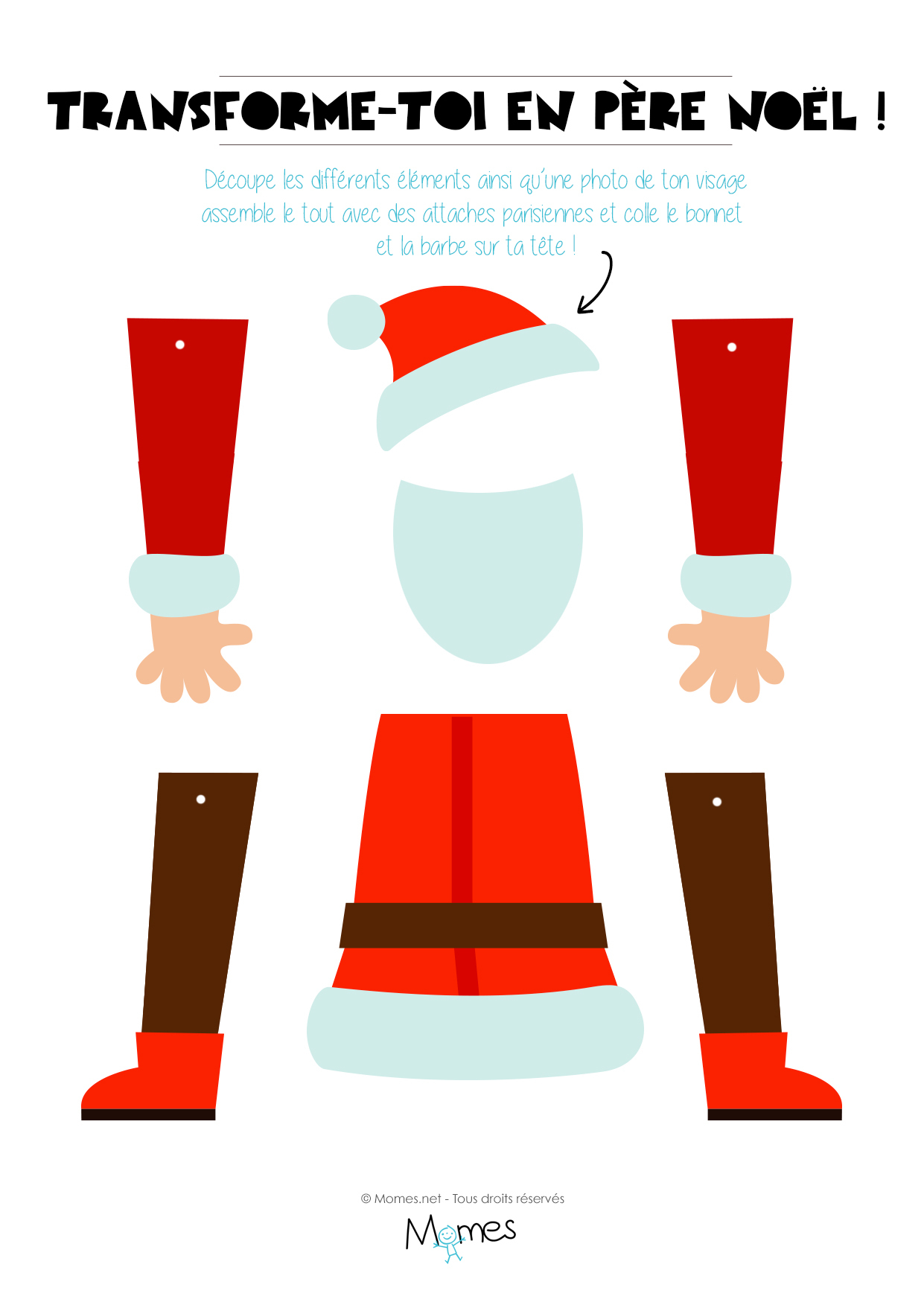 Le Pantin Père Noël À Imprimer Et Personnaliser - Momes encequiconcerne Pere Noel A Imprimer Et A Decouper