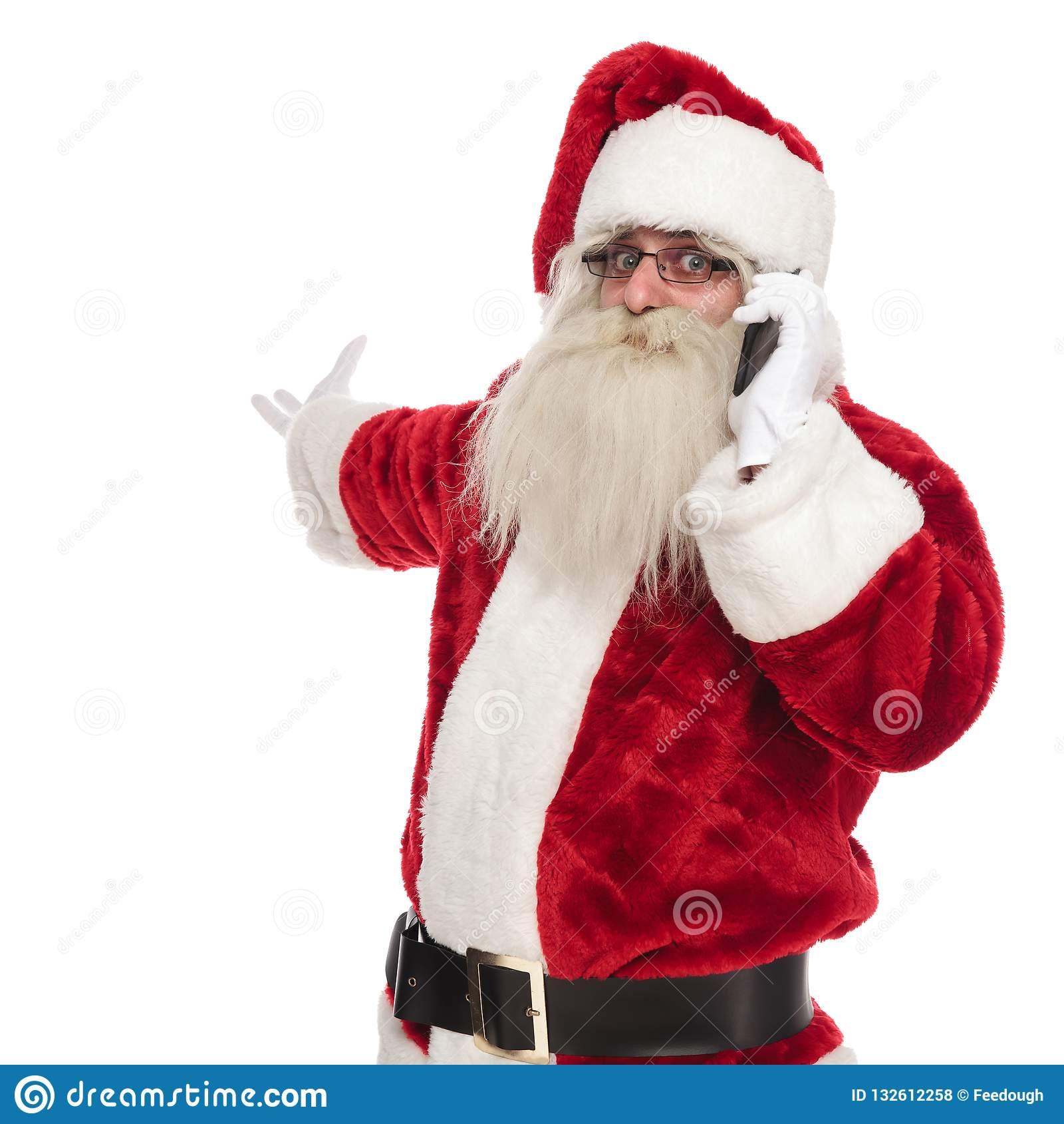 Le Père Noël Parlant Au Téléphone Geste Fait Et D'invitation encequiconcerne Fabrication De Pere Noel