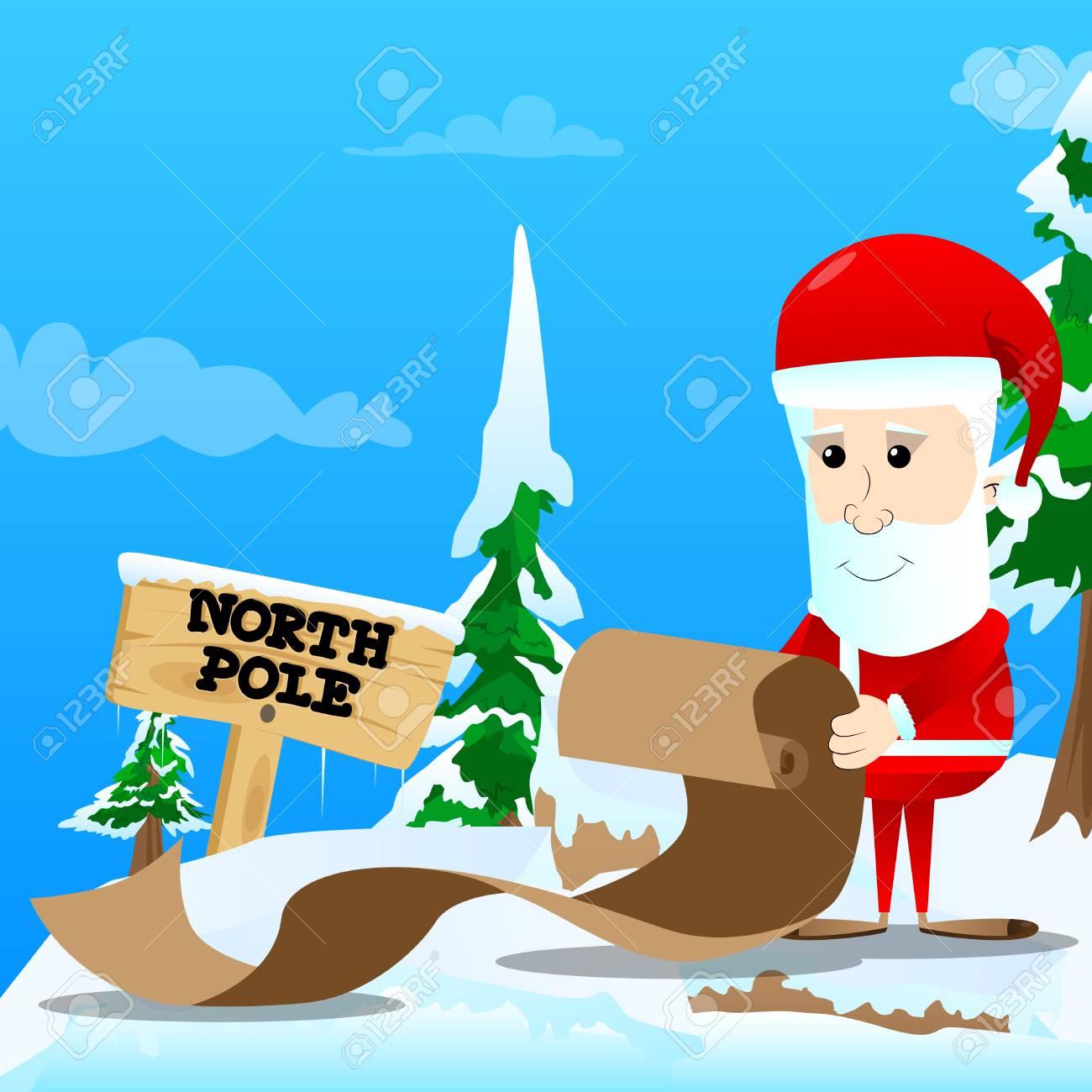Le Père Noël Tenant Un Long Papier, Une Lettre De Noël, Une Liste De  Souhaits, Une Liste Coquine Ou Sympathique. Illustration Du Personnage De  Dessin dedans Papier Lettre De Noel