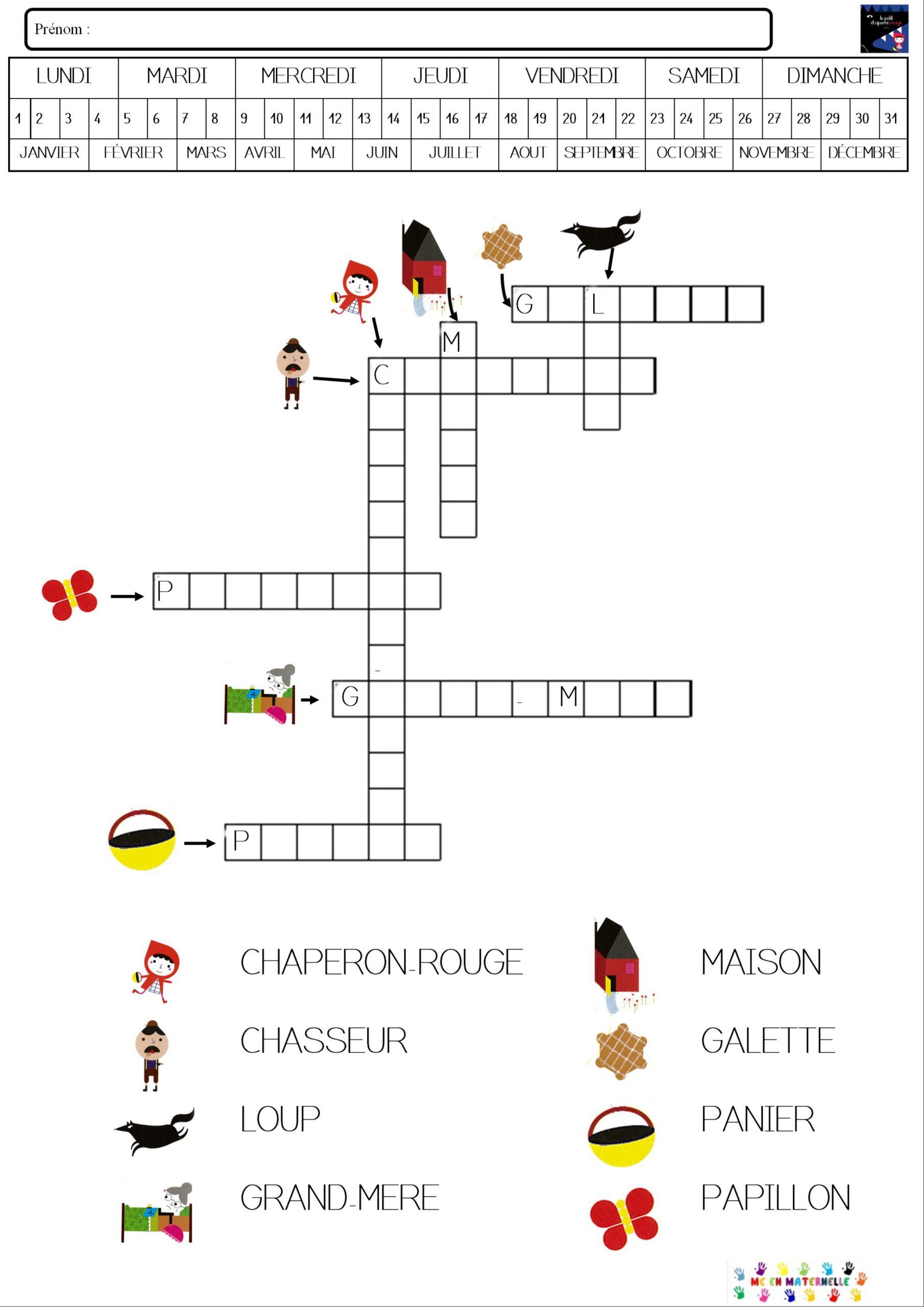 Le Petit Chaperon Rouge : Mots Fléchés – Mc En Maternelle concernant Jeux De Mot Croiser