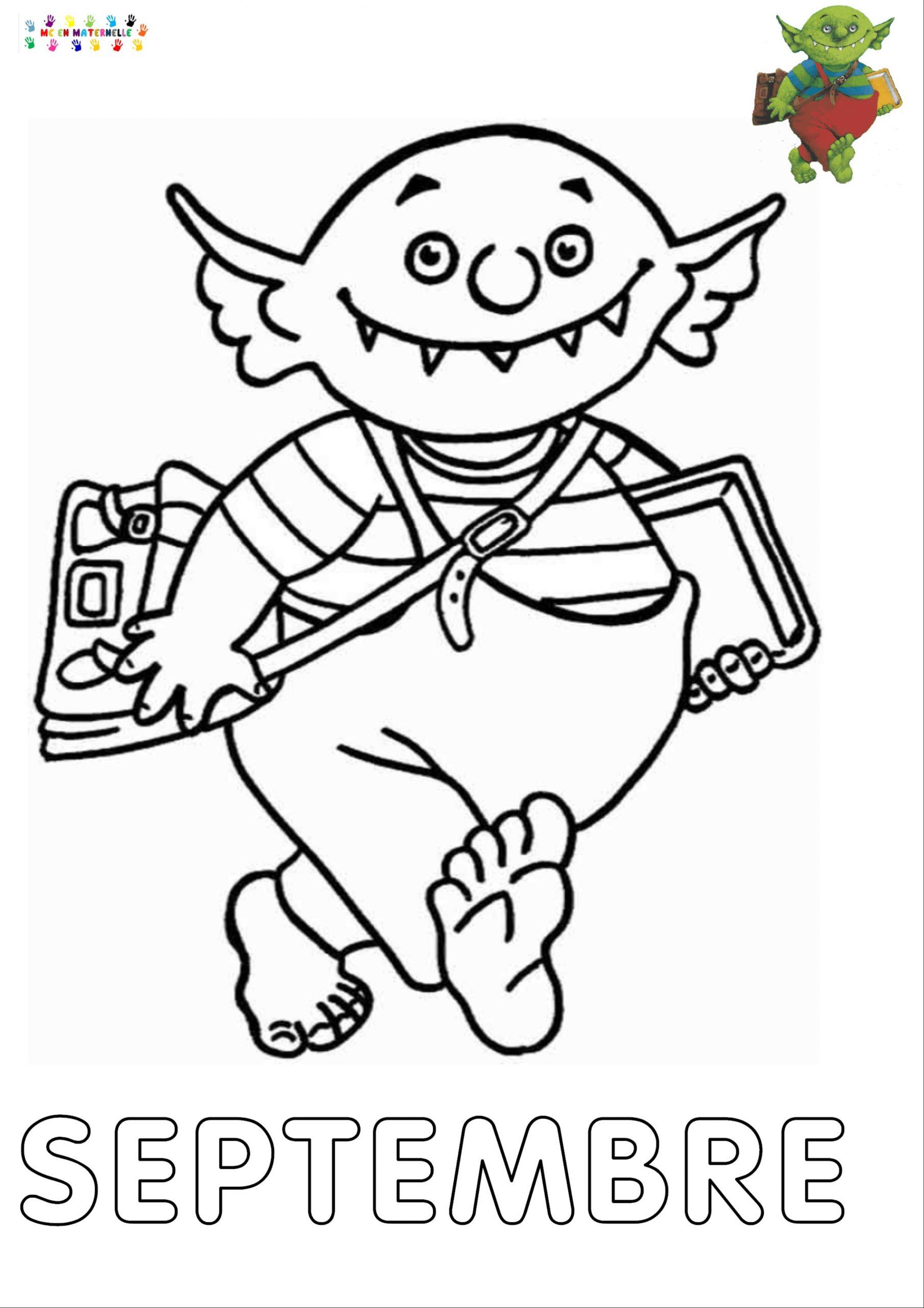 Le Petit Ogre Qui Veut Aller À L'école : Mois De Septembre intérieur Mois À Colorier Maternelle