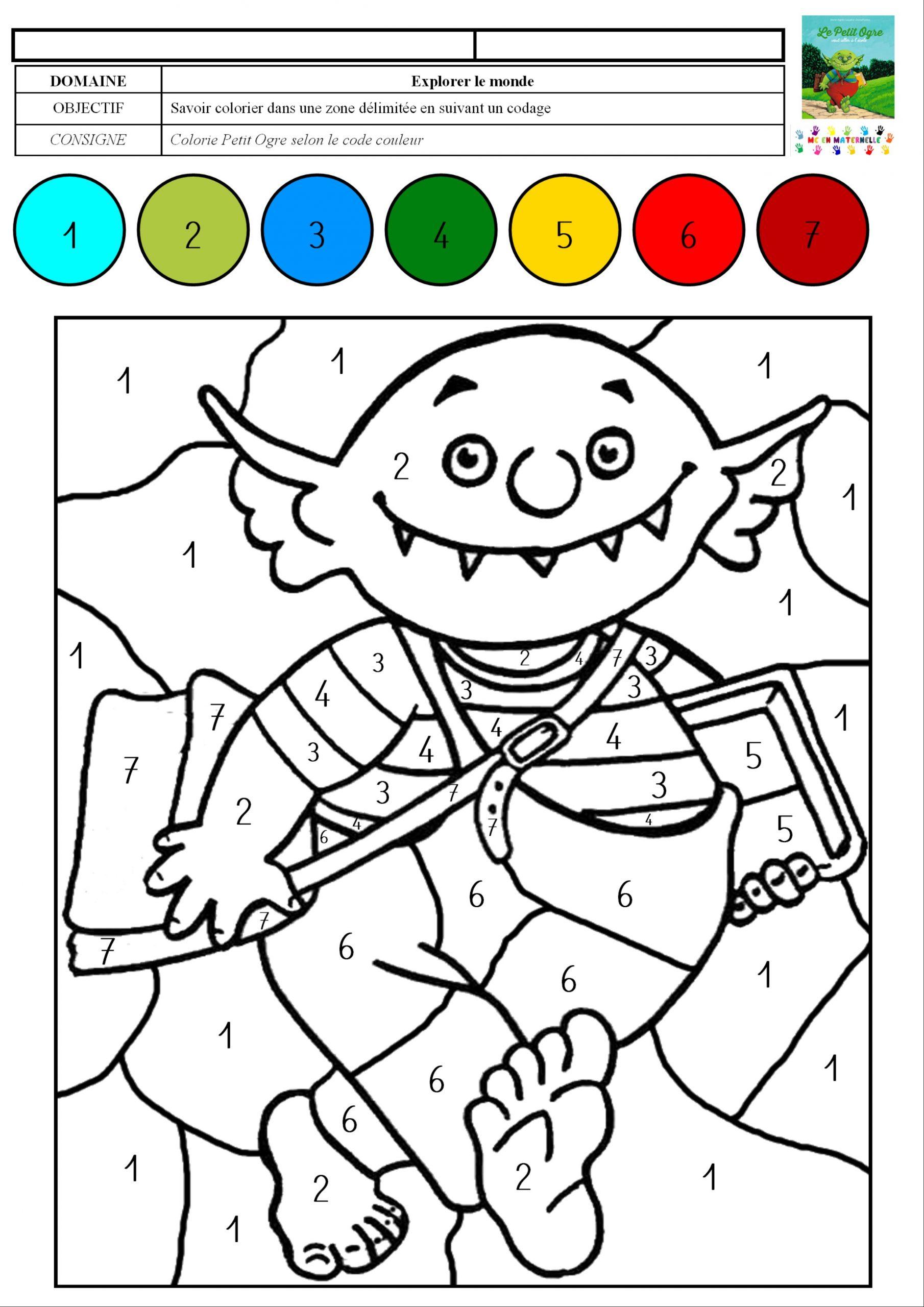 Le Petit Ogre Veut Aller À L'école : Coloriage Magique Avec avec Coloriage Codé Maternelle