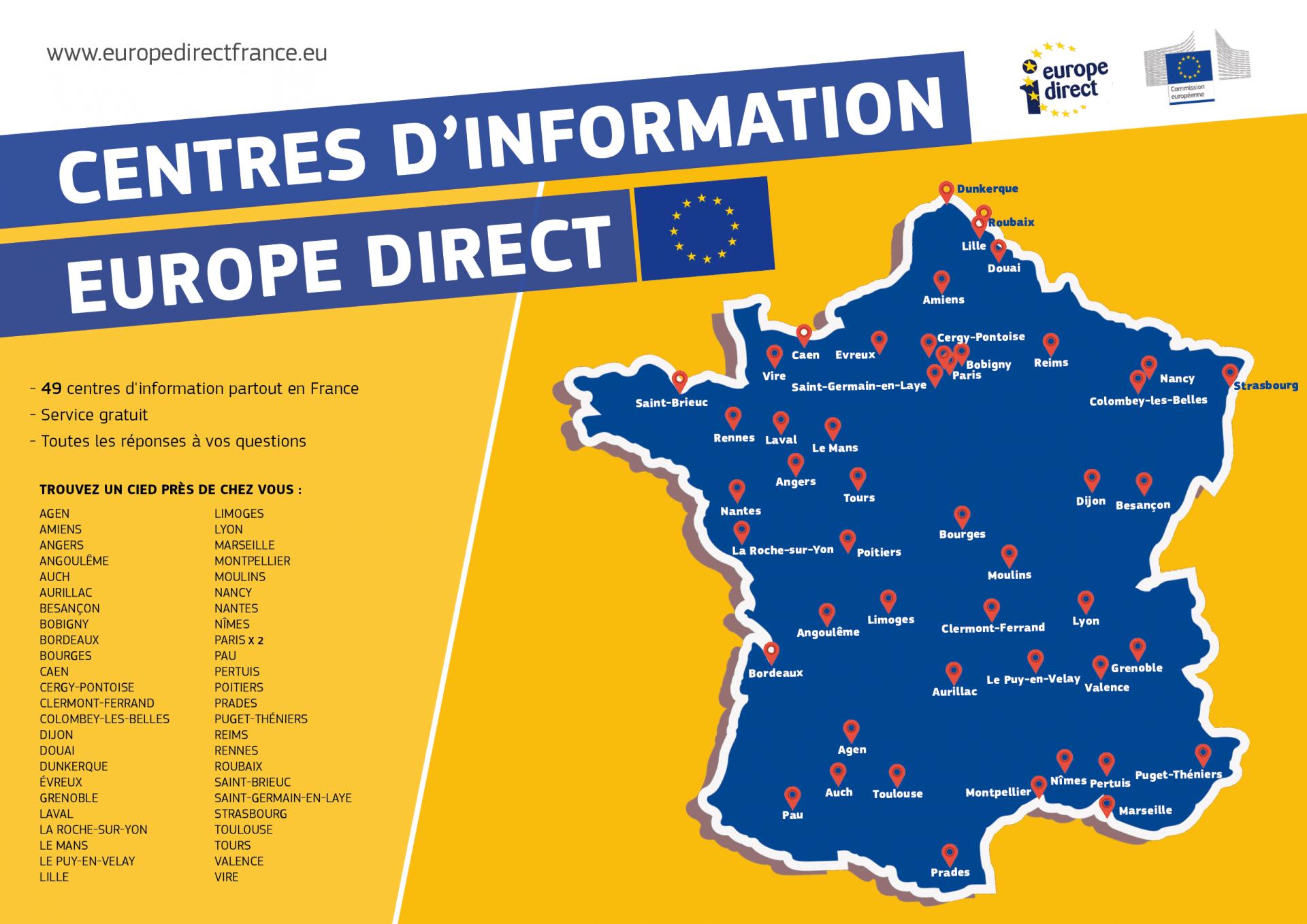 Le Réseau Europe Direct intérieur Carte Europe De L Est