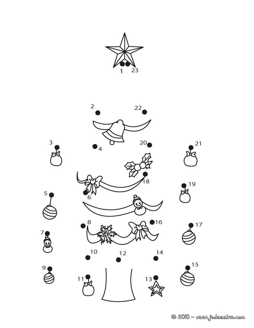 Le Sapin De Noël Décoré - Points À Relier Noël | Points À intérieur Dessin A Relier