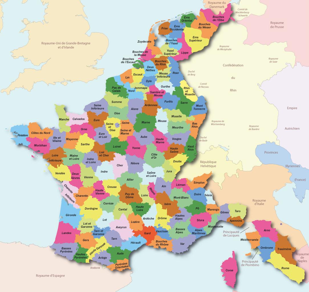 Le Splaf - Carte De La France En 1811 serapportantà Carte De La France Par Département