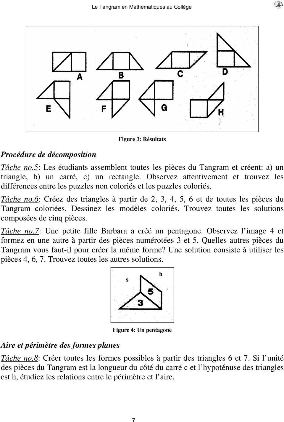 Le Tangram En Mathematiques Au College - Pdf Téléchargement à Tangram Modèles Et Solutions