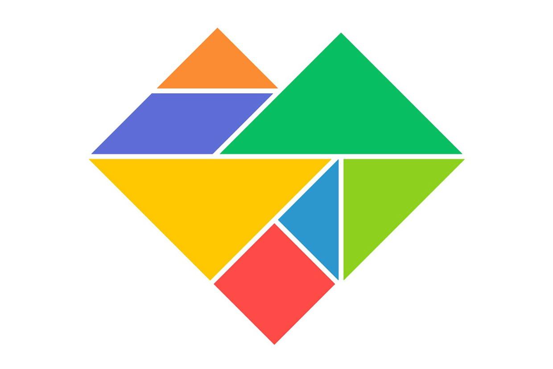 Le Tangram Niveau Facile, Un Cœur pour Jeu De Tangram À Imprimer