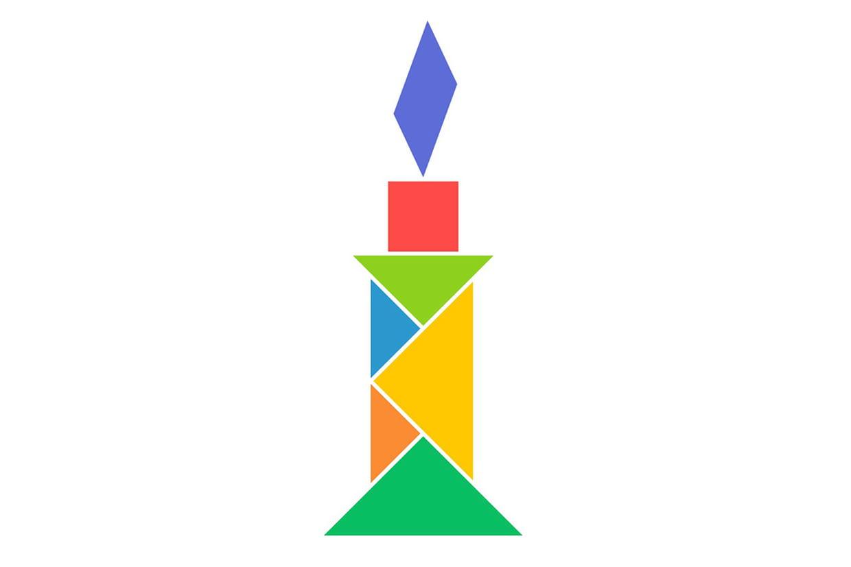 Le Tangram Niveau Facile, Une Bougie encequiconcerne Modèle Tangram À Imprimer