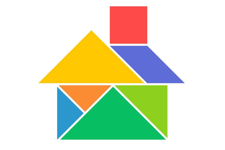 Le Tangram Niveau Facile, Une Maison à Tangram À Découper