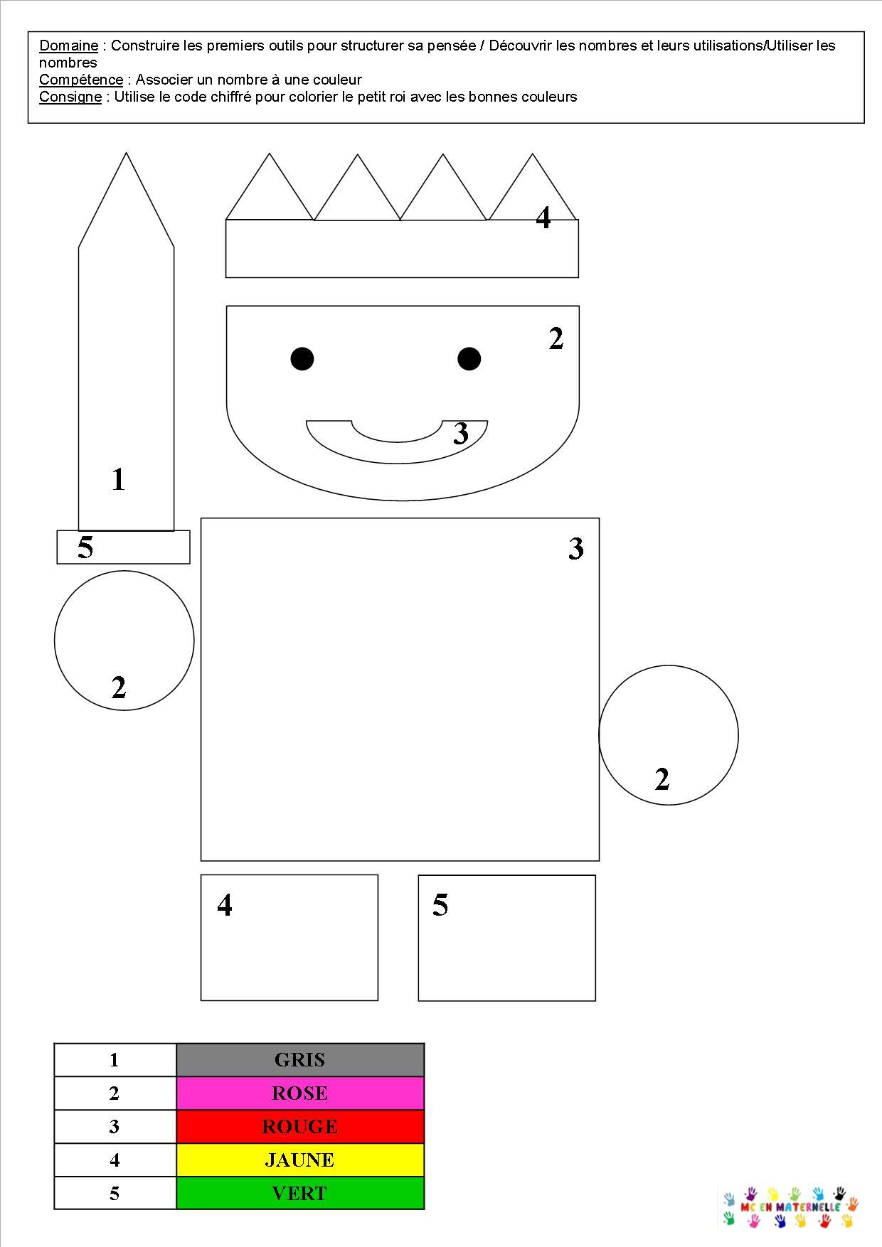 Le Tout Petit Roi : Coloriages Et Coloriages Magiques – Mc à Coloriage Codé Moyenne Section