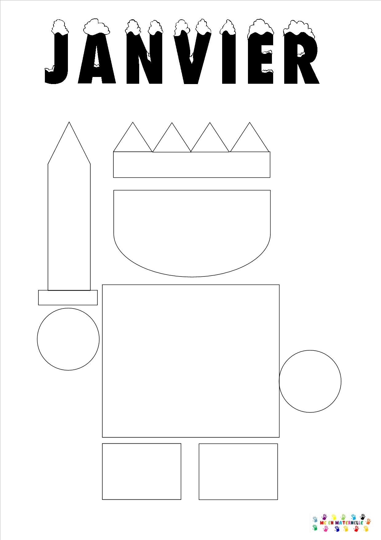 Le Tout Petit Roi : Page Du Mois De Janvier – Mc En Maternelle intérieur Mois À Colorier Maternelle