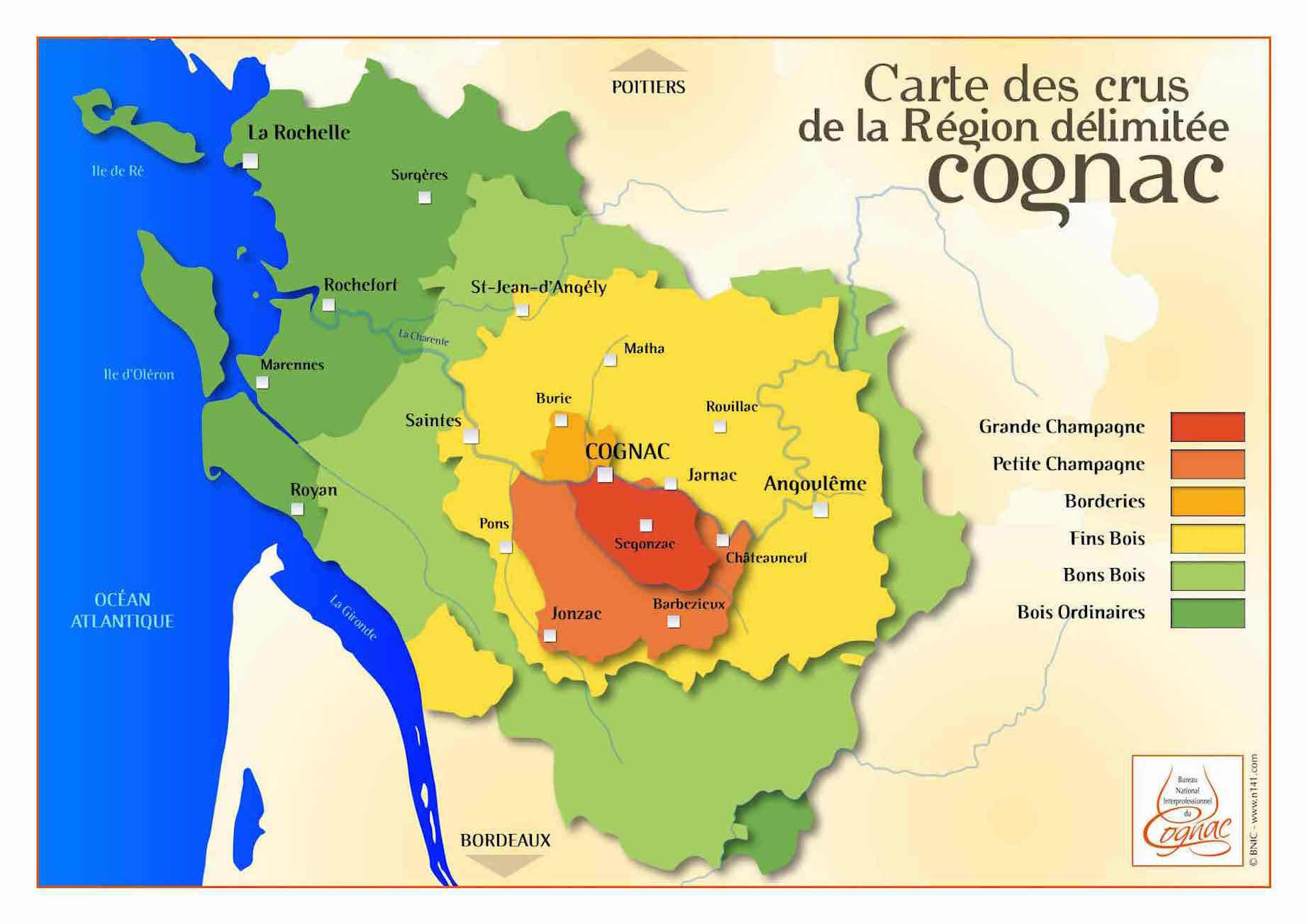 Learn About The 6 Areas Of The Cognac Region | Cognac Expert destiné R2Gion France