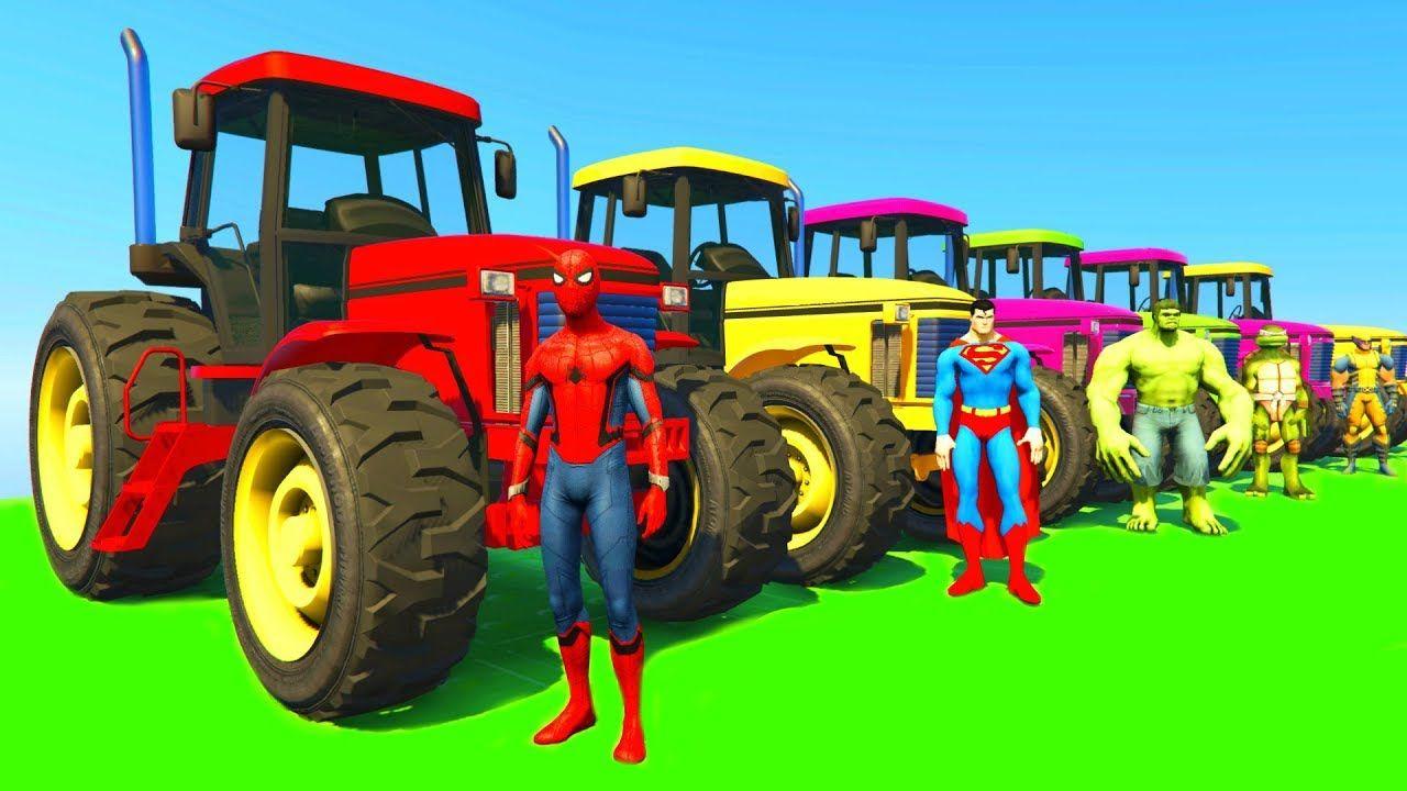 Learn Colors With Tractor & Jetski W Superheroes Cartoon à Dessin Animé De Tracteur John Deere