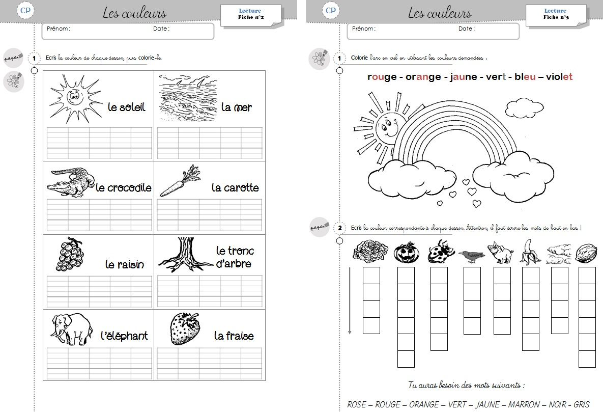 Lecture Cp - Les Couleurs - Cycle 2 ~ Orphéecolecycle 2 serapportantà Travail De Cp A Imprimer Gratuit