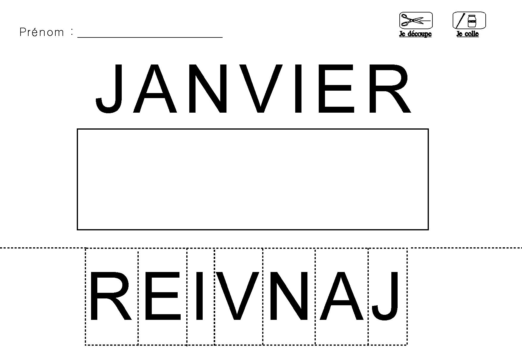 Lecture Decouper Et Coller Les Lettres Du Mois Janvier concernant Mois À Colorier Maternelle