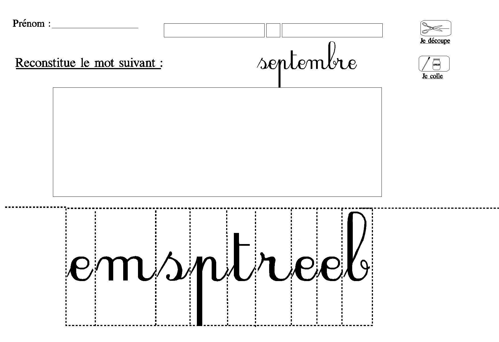 Lecture Decouper Et Coller Les Lettres Du Mois Septembre à Écriture Grande Section À Imprimer