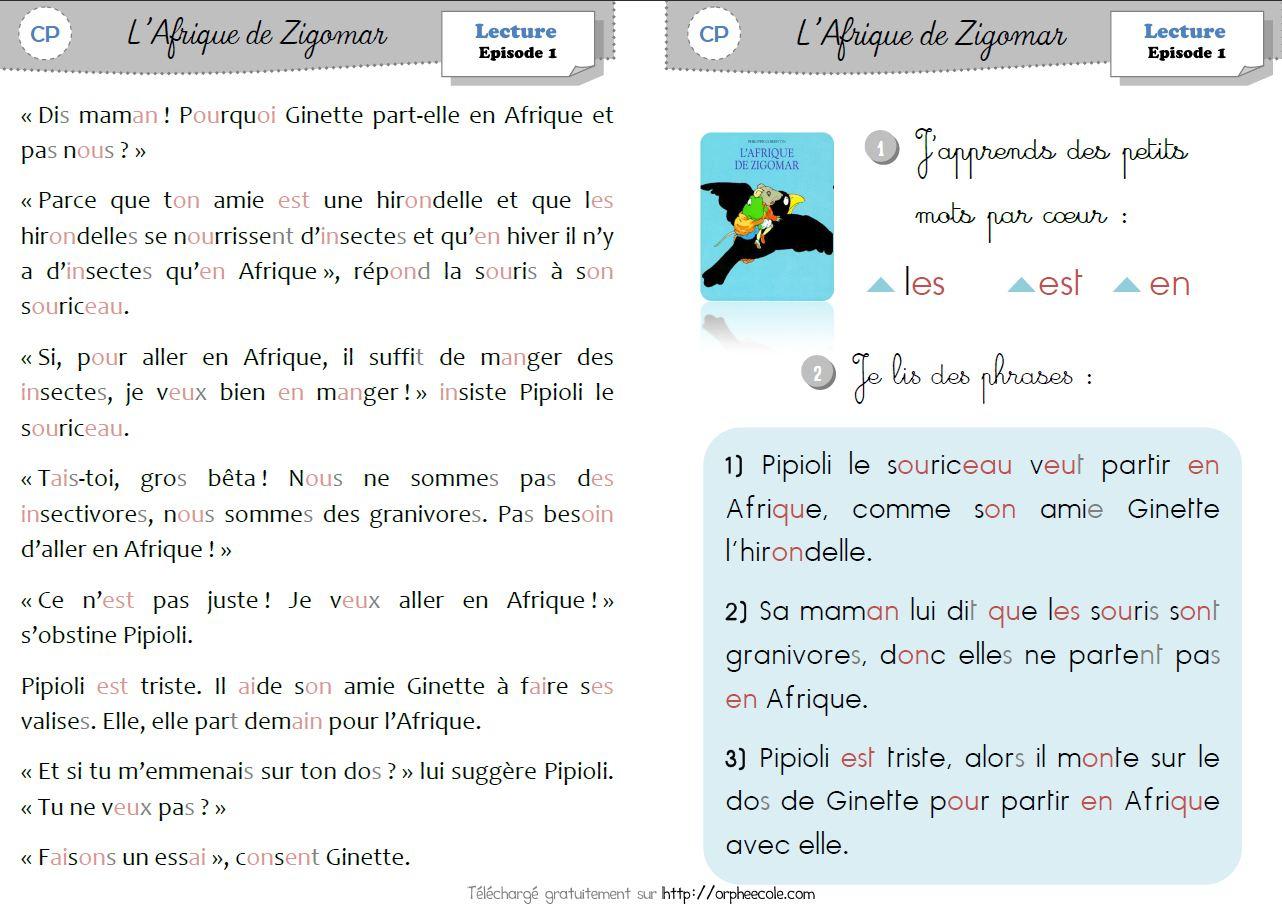 Lecture / Littérature Cp Et Ce1 - L'afrique De Zigomar (P.3 pour Cahier D Écriture Cp Gratuit À Imprimer