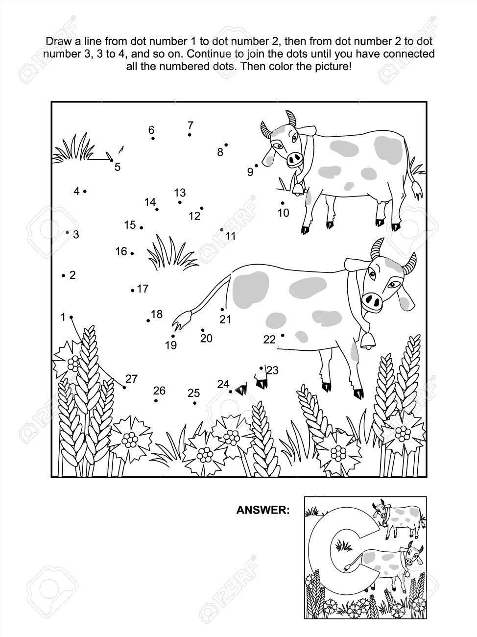 L'éducation Relier Les Points Image Puzzle Et De Coloriage Page - Lettre C,  Les Vaches Et Les Bleuets Traitée Inclus à Point À Relier Alphabet