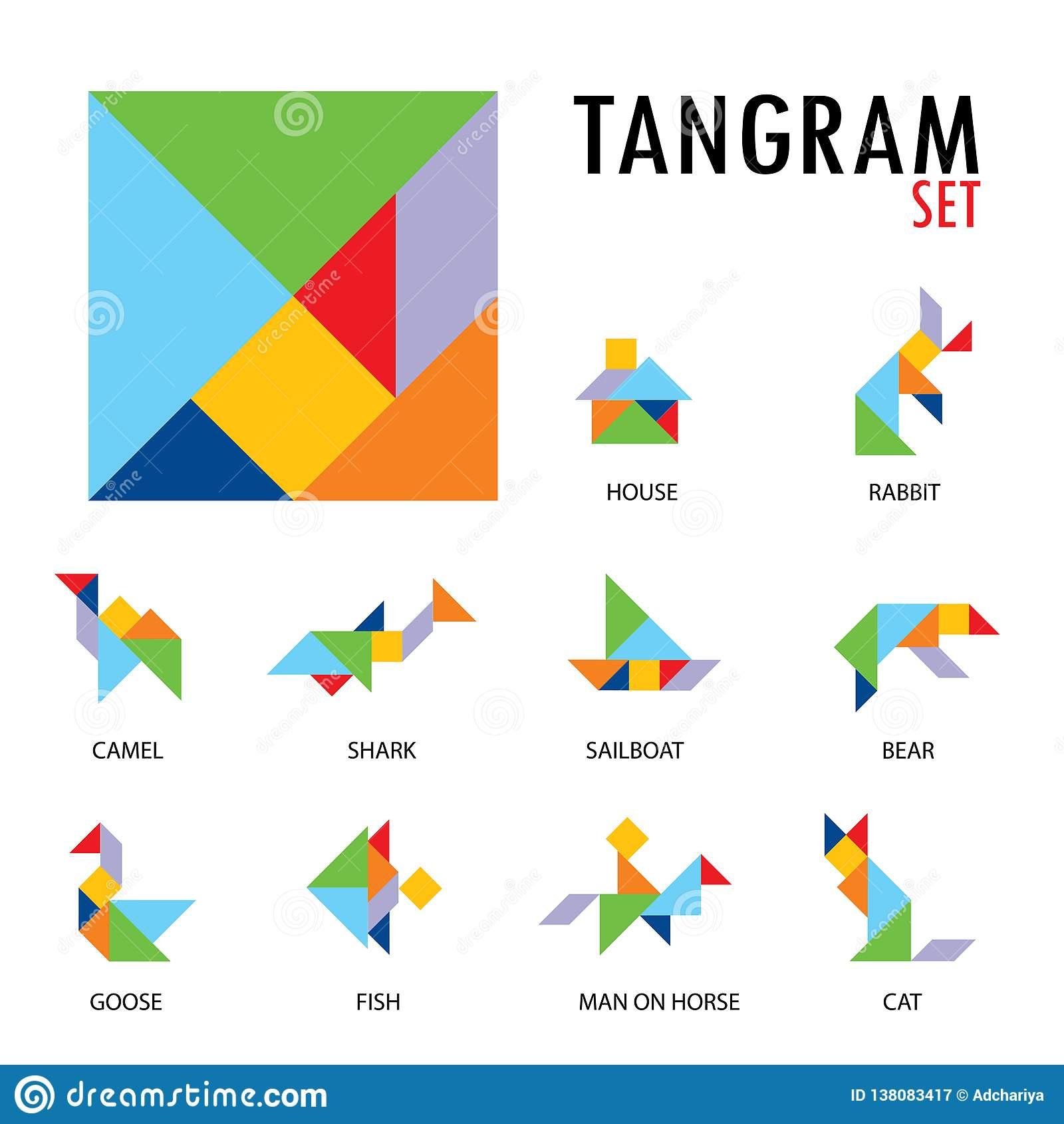 L'ensemble Coloré D'icônes De Jeu De Tangram Faites Avec Des avec Jeux De Tangram Gratuit