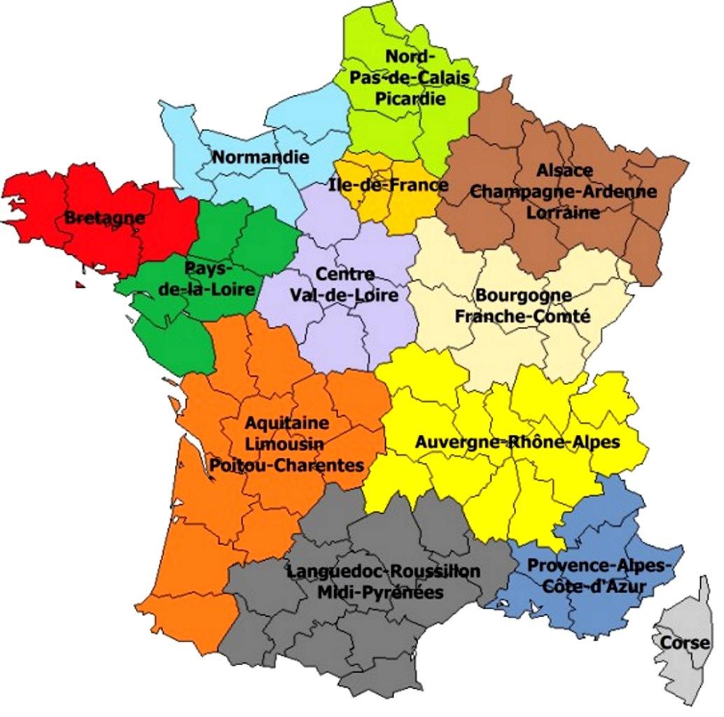 Les 13 Nouvelles Régions De France à Carte De France Région Vierge