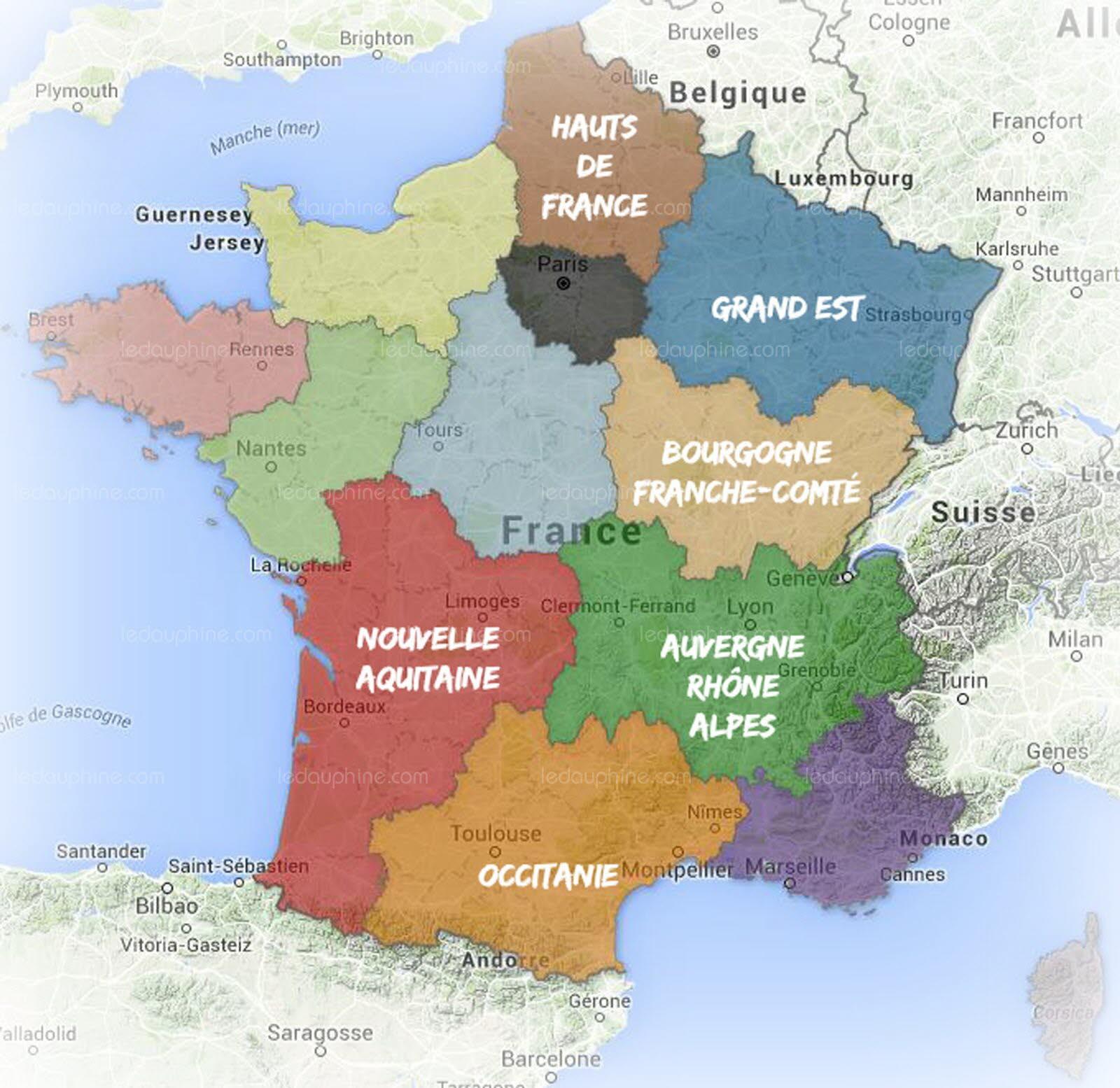 Les 27 Regions De France tout Carte De France Et Ses Régions
