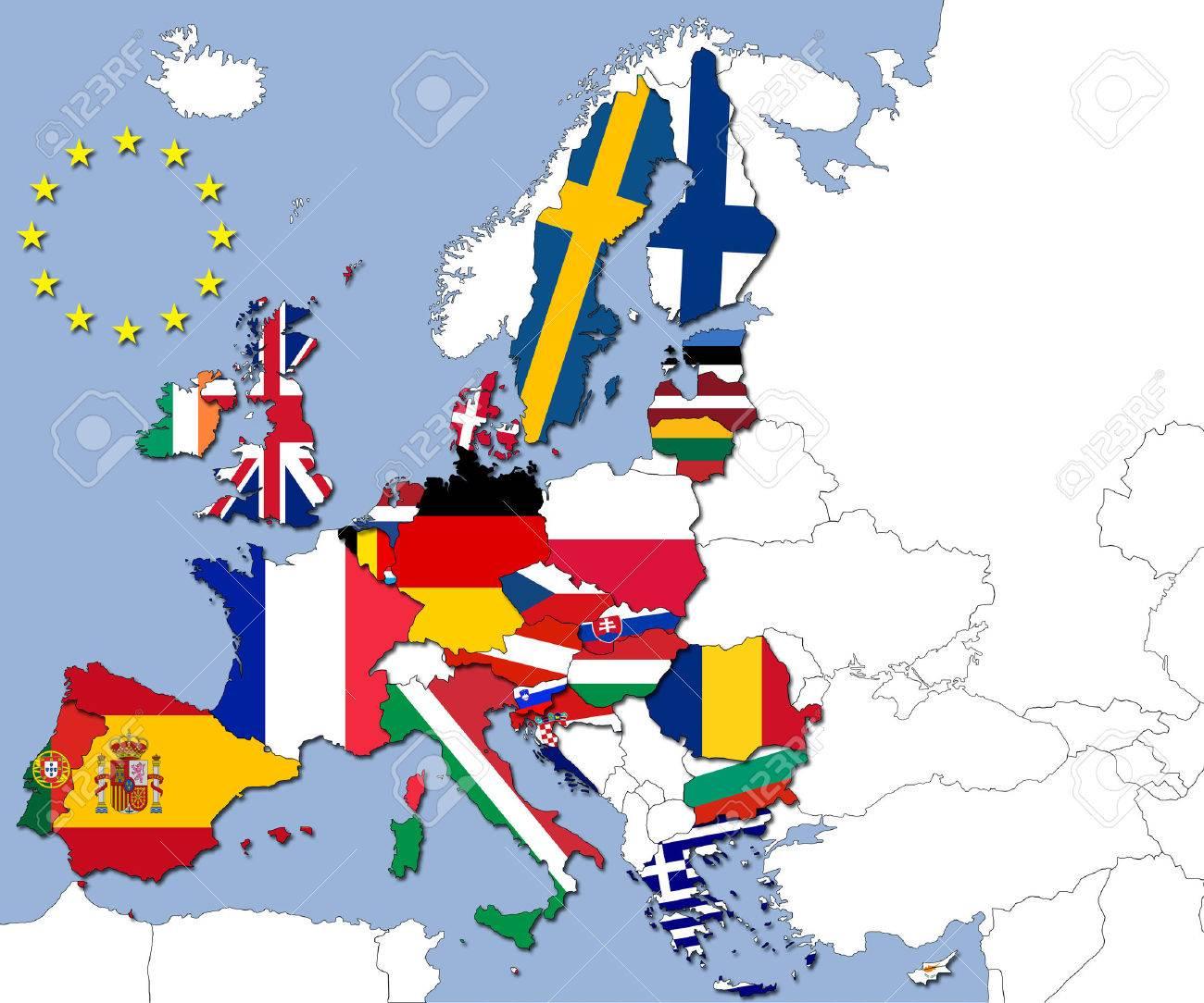 Les 28 Pays De L'union Européenne Et Leurs Drapeaux destiné Carte Union Européenne 28 Pays