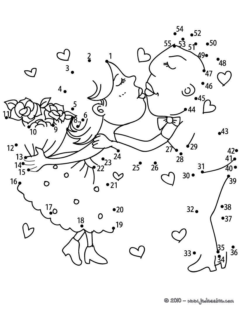 Les Amoureux Points À Relier Difficile - Jeux Des Points À intérieur Jeux Point A Relier