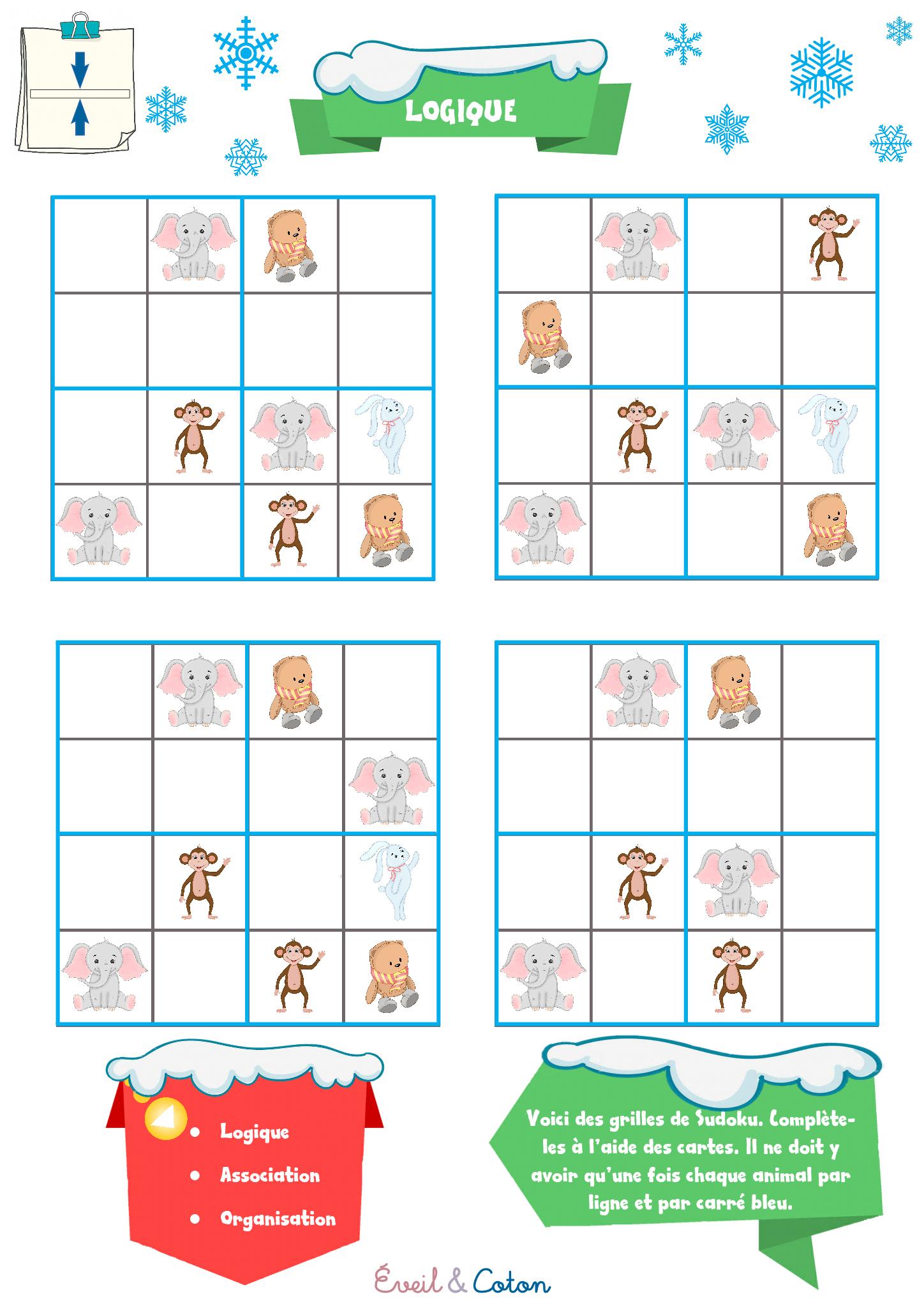 Les Animaux Fêtent Noël - 5/7 Ans | Eveiletcoton intérieur Sudoku Animaux À Imprimer