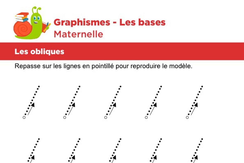 Les Bases Du Graphisme, Les Obliques Niveau 2 destiné Fiche Graphisme Maternelle