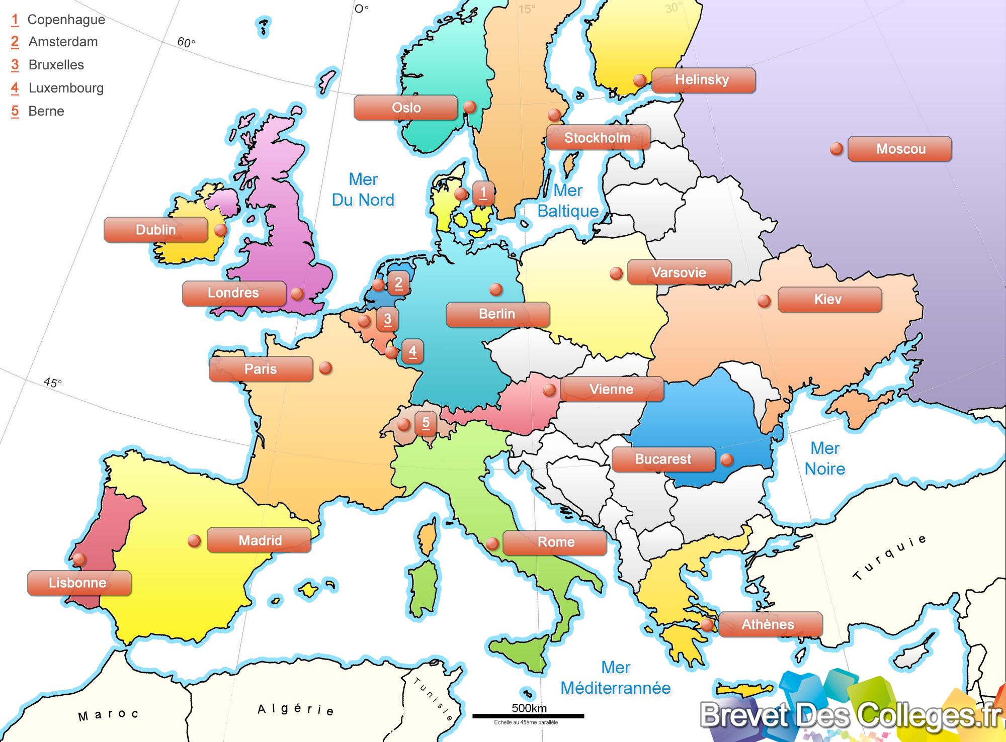 Les Capitales D'europe destiné Carte De L Europe Avec Pays