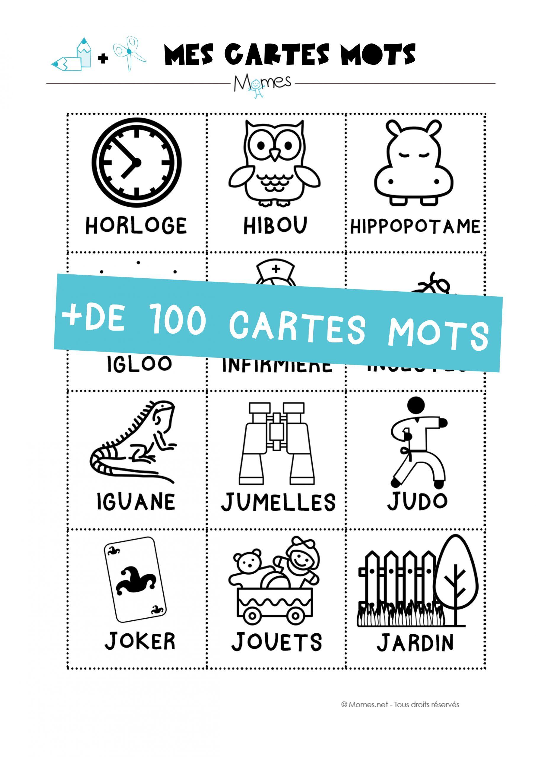 Les Cartes Mots - Imagier Maternelle - Momes avec Ecriture Maternelle Moyenne Section A Imprimer