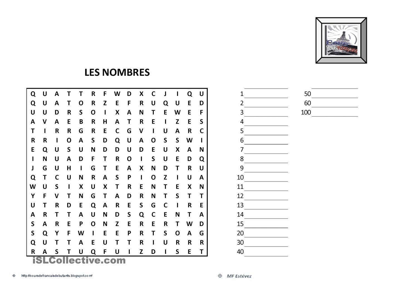 Les Chiffres | L'enseignement Du Français, Fle Et Les à Mots Caches Francais Gratuit