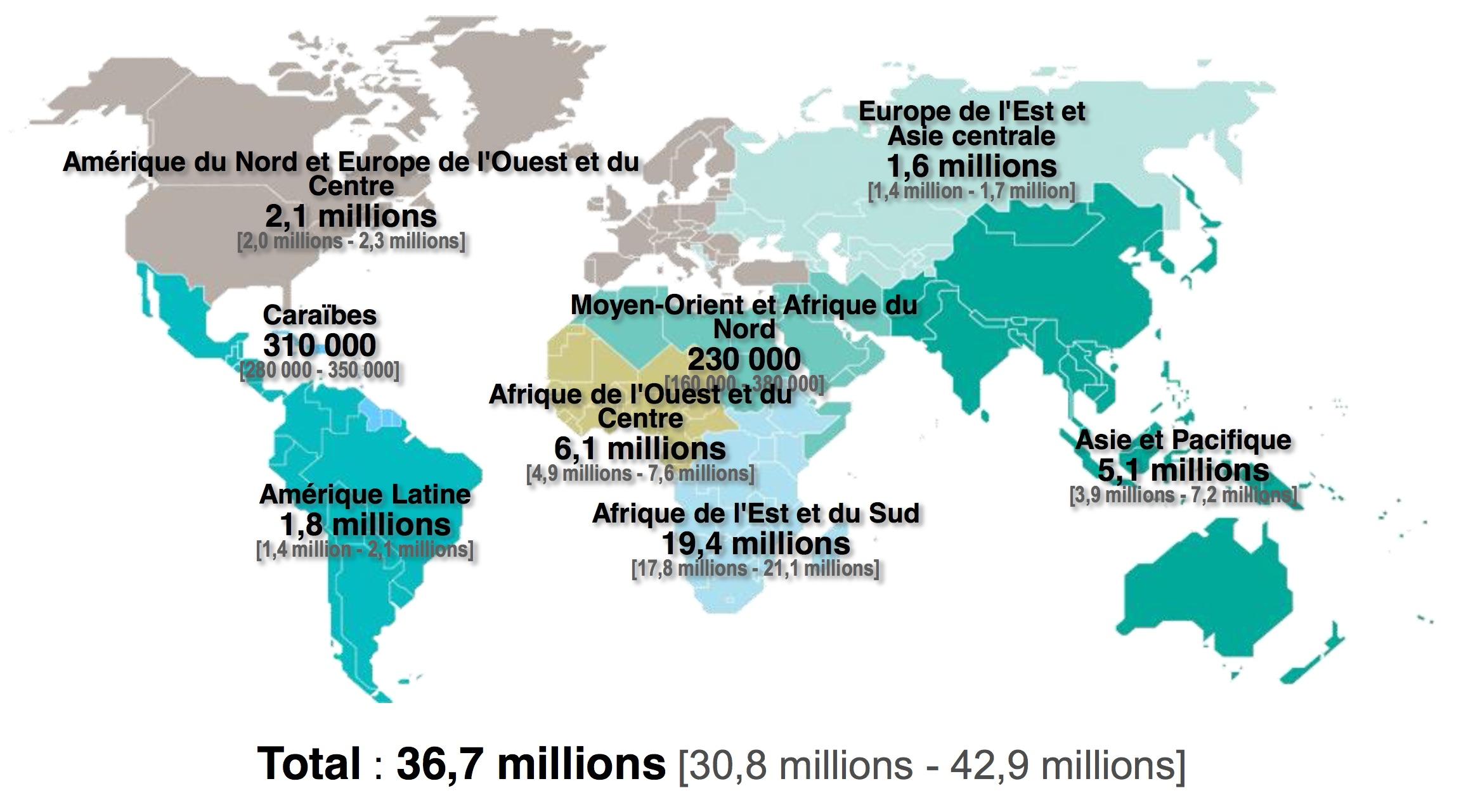 Les Chiffres Mondiaux Du Vih: Des Progrès Et Des Défis | Vih destiné Nombre De Régions En France 2017