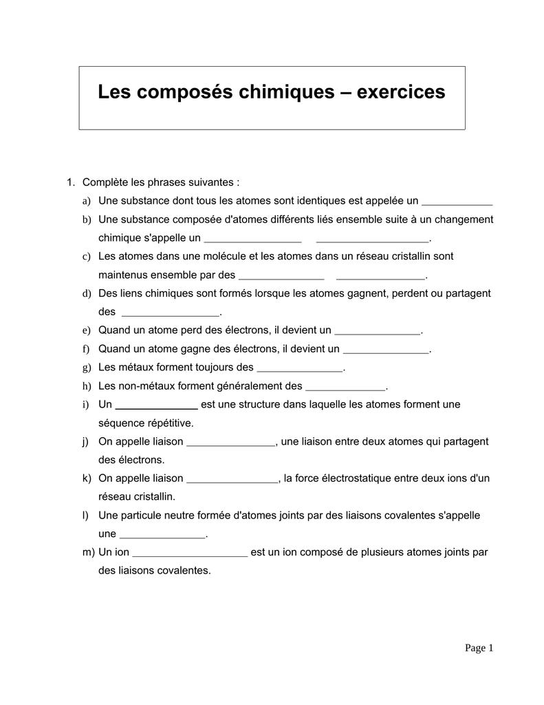 Les Composés Chimiques – Exercices avec Exercice Chiffre Romain