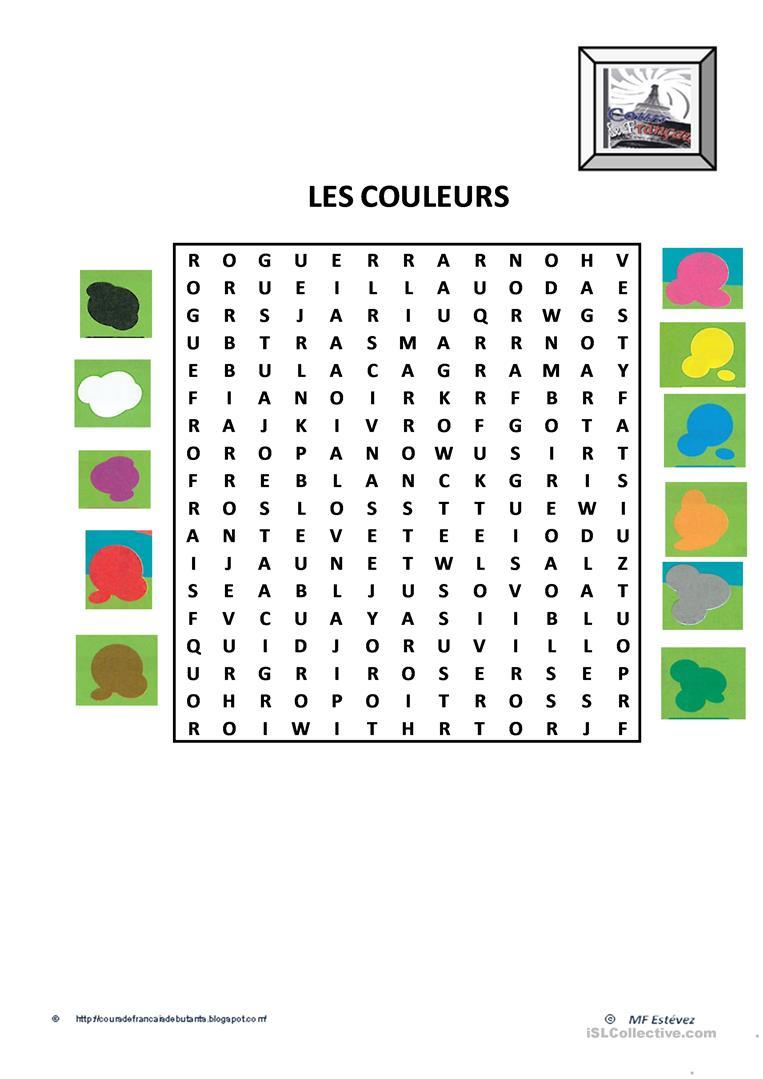 Les Couleurs - Français Fle Fiches Pedagogiques intérieur Activité Pour Apprendre Les Couleurs