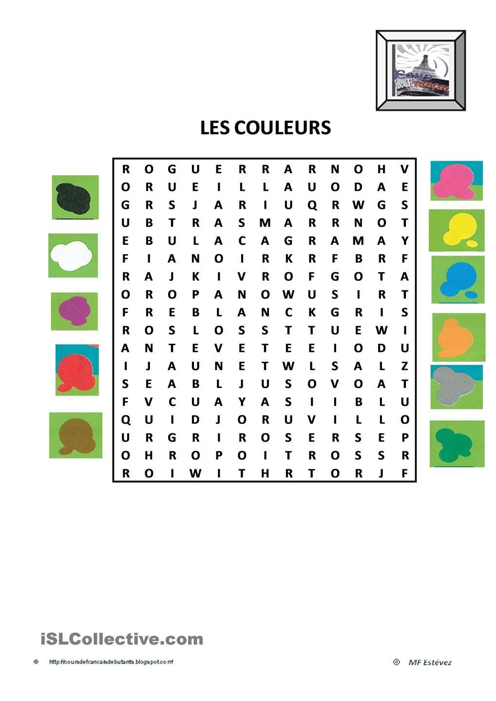 Les Couleurs | Les Couleurs En Français, Apprentissage De La à Mots Caches Francais Gratuit