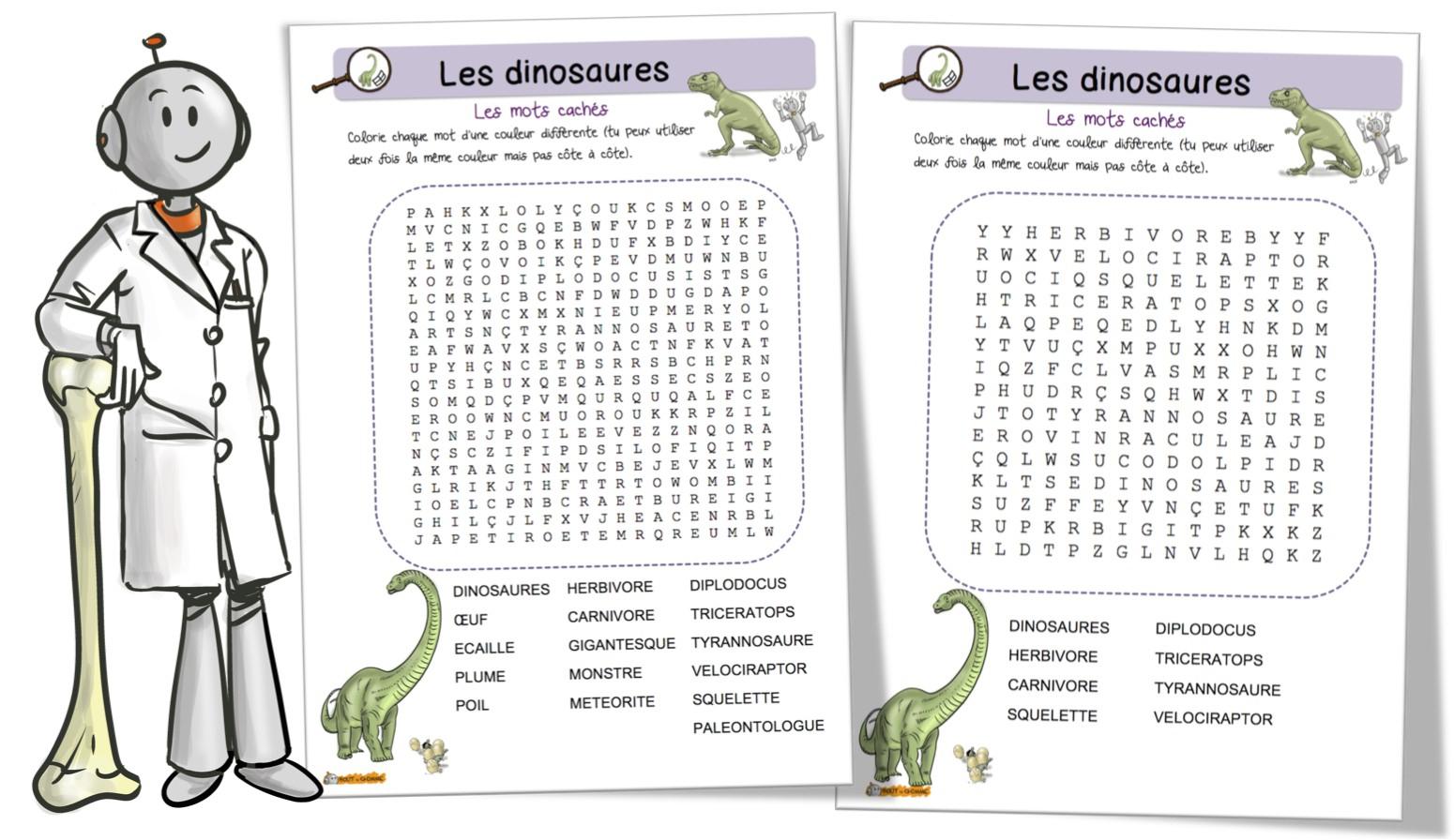 Les Dinosaures : Mots Mêlés | Bout De Gomme encequiconcerne Mots Mêlés Cm2