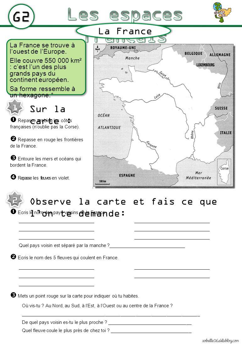 Les Espaces Français G2 La France Sur La Carte : intérieur Carte Fleuve France