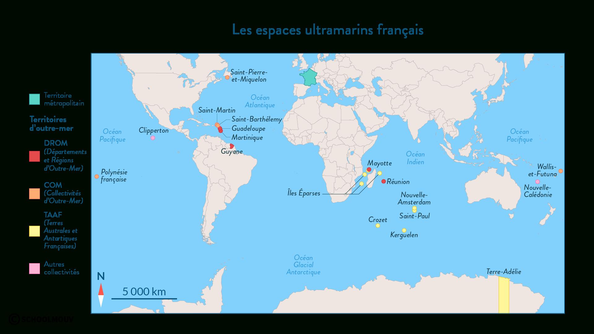 Les Espaces Métropolitains Et Ultramarins Français à Département D Outre Mer Carte