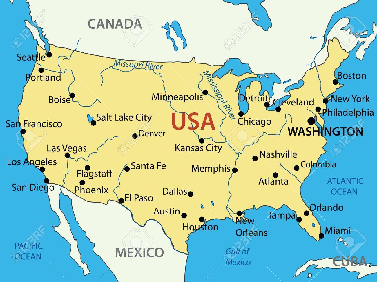 Les Etats-Unis D'amérique - Carte Vectorielle à Carte Etat Amerique