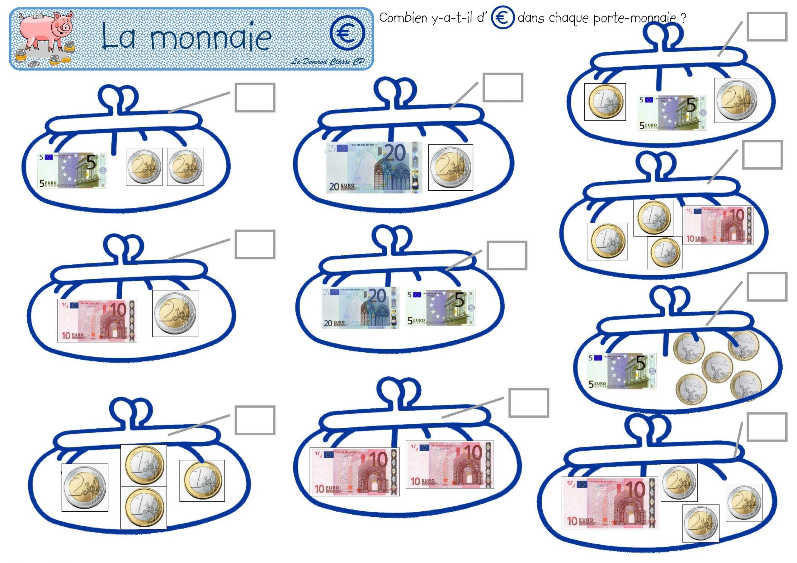 Les Euros, Petits Problèmes Mercantiles | La Monnaie Ce1 dedans Pièces Et Billets En Euros À Imprimer