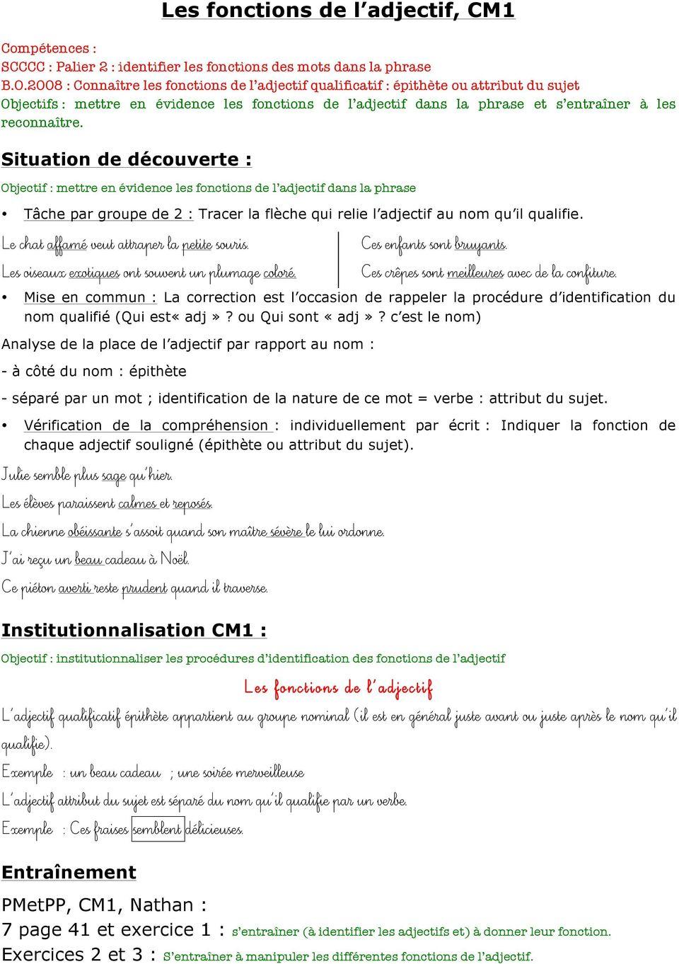 Les Fonctions De L Adjectif, Cm1 - Pdf Téléchargement Gratuit concernant Exercice Cm1 Gratuit