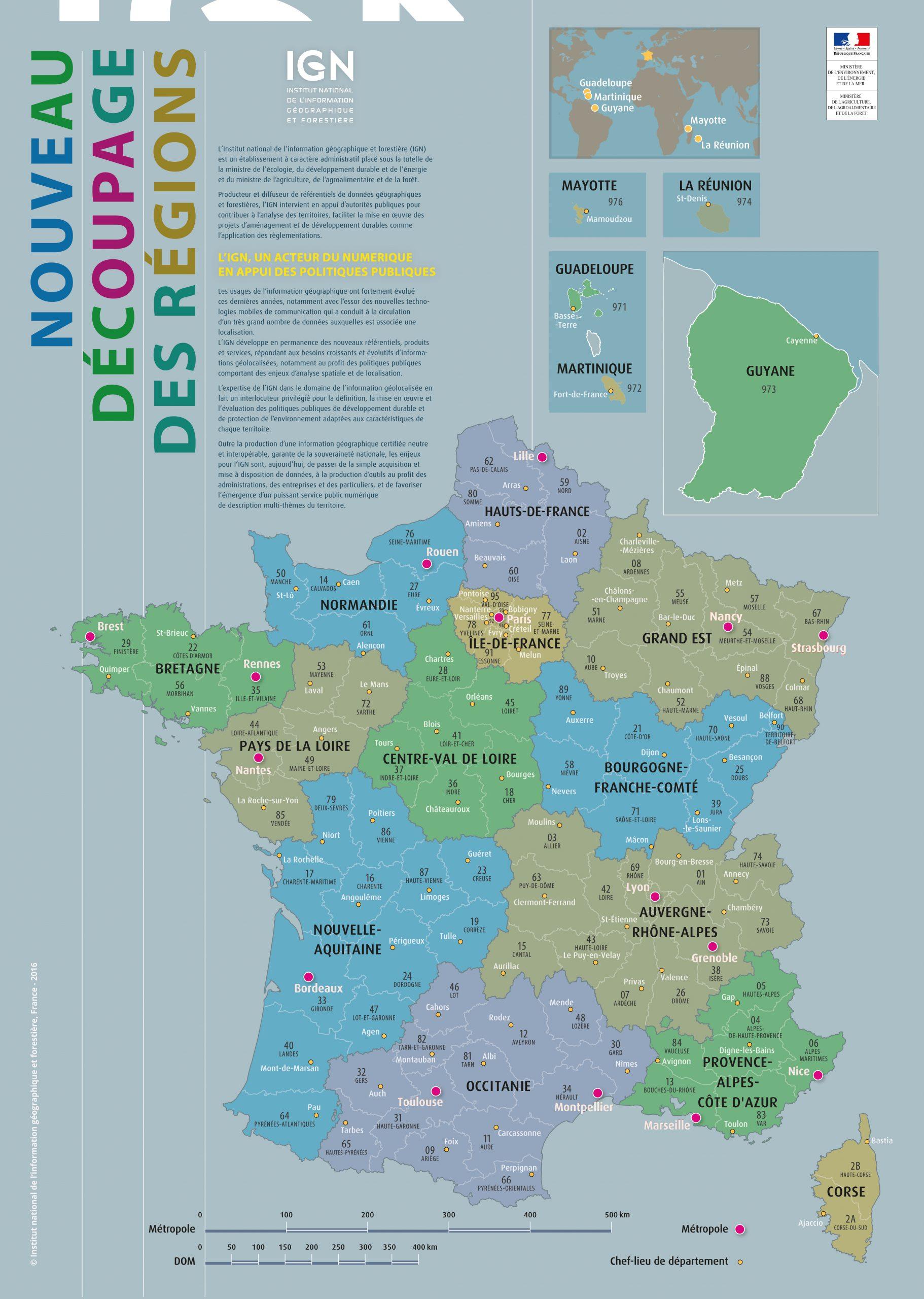 Les Fonds De Cartes Vierges De La France Proposés Par L'ign à Carte De France Vierge Nouvelles Régions
