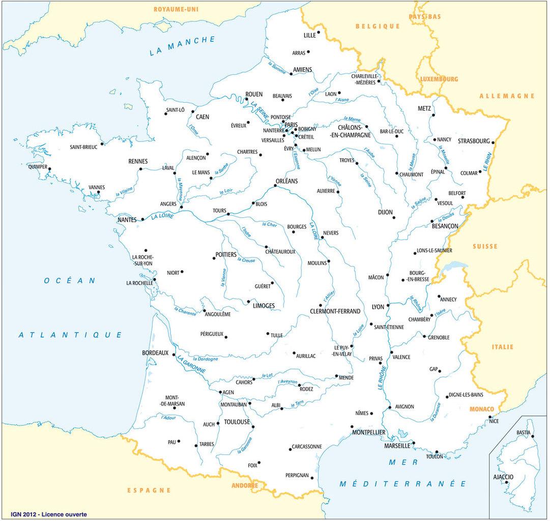 Les Fonds De Cartes Vierges De La France Proposés Par L'ign destiné Carte De France Avec Départements Et Préfectures
