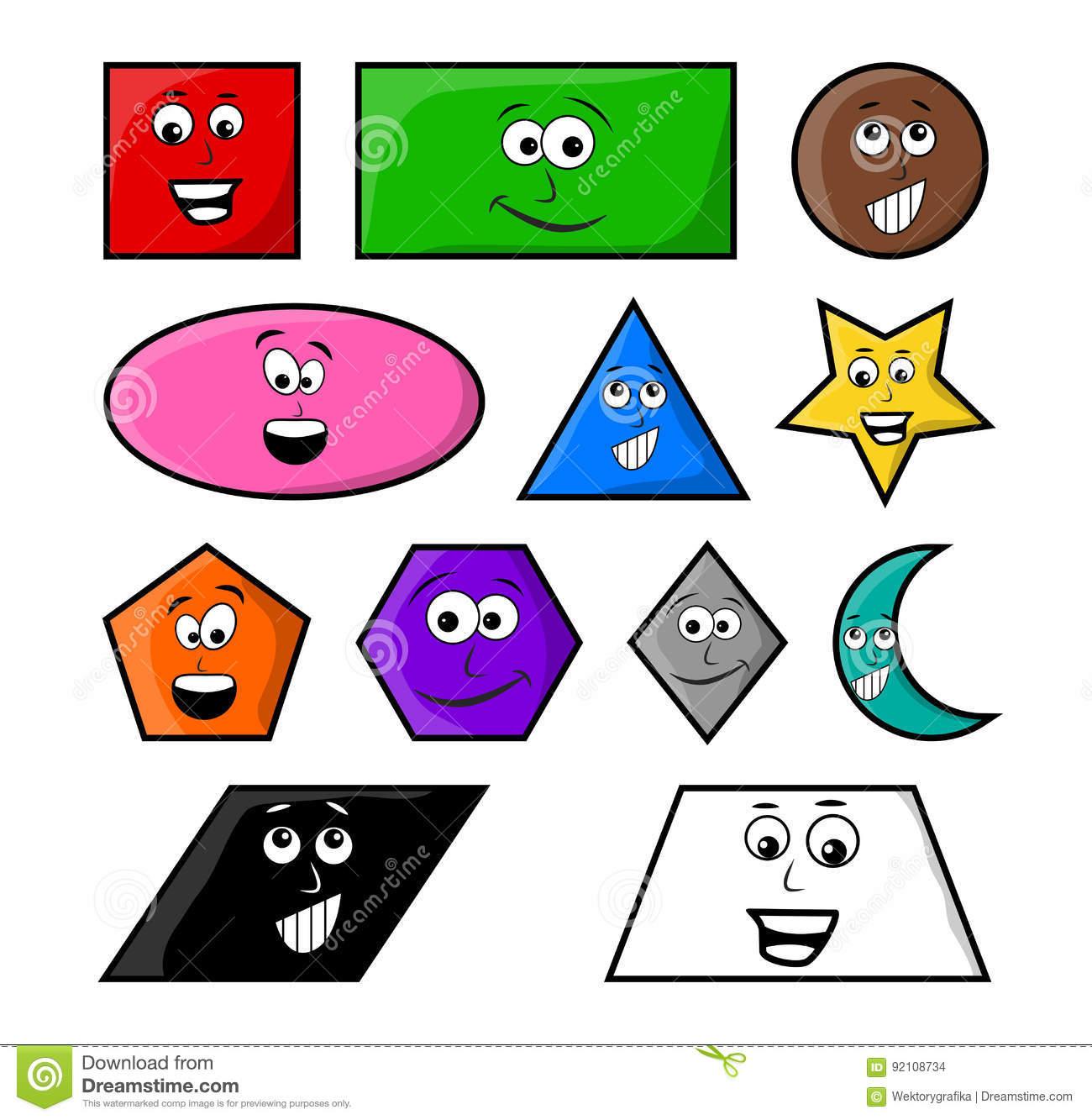 Les Formes Géométriques De Bande Dessinée Avec L'icône De serapportantà Les Formes Geometrique